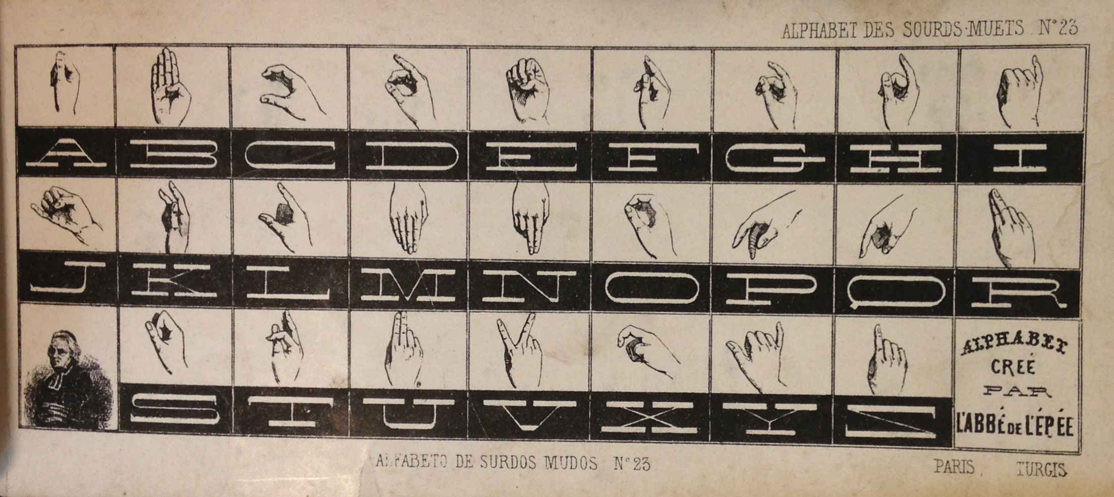 A manual alphabet from a collection of ornamental alphabets, Recueil d'alphabets, dedié aux artistes (Paris & New York: L. Turgis jeune, [ca. 1845?].  (NK3600 .B65 1845)