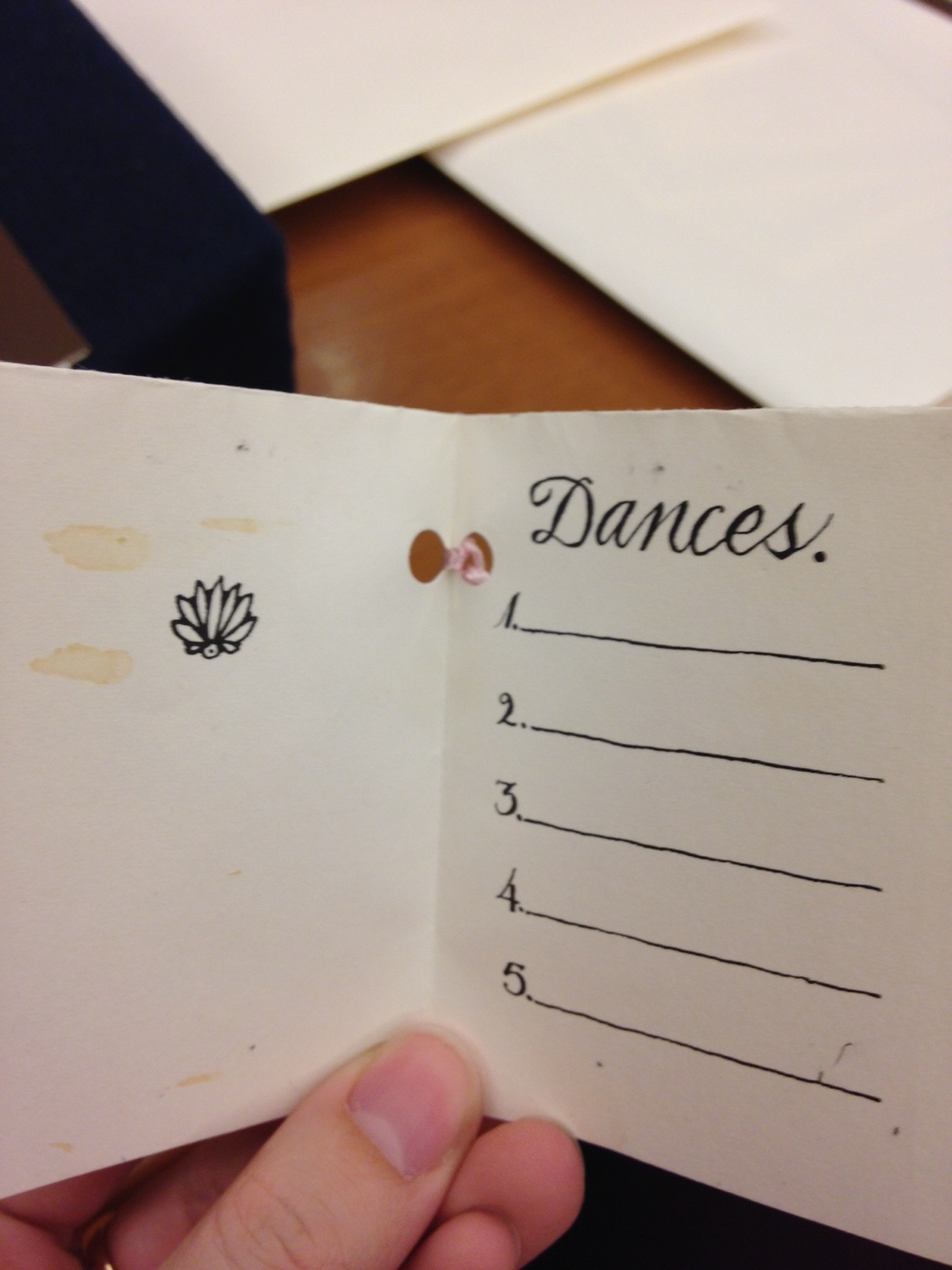 Inside of dance request booklet.