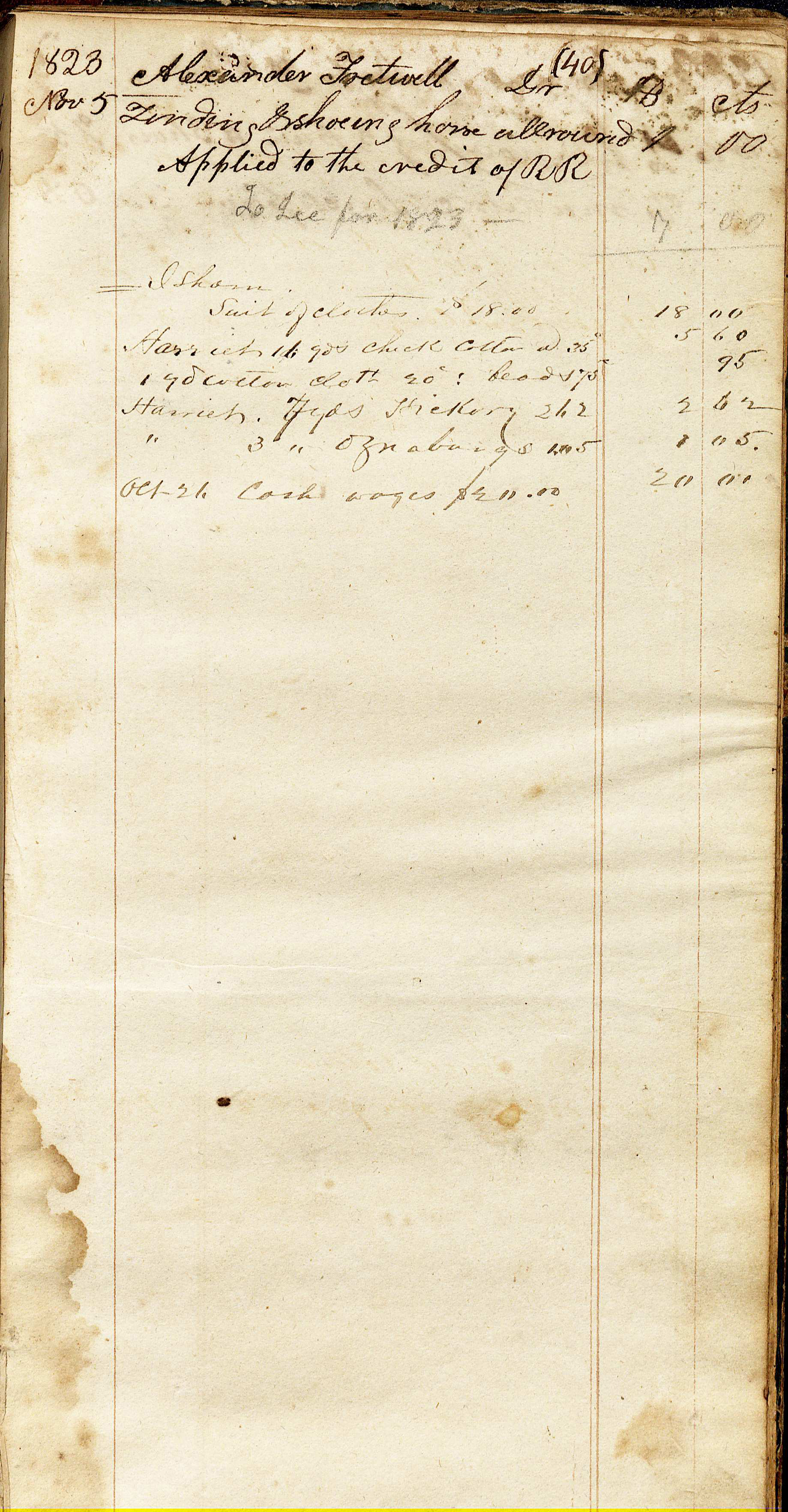 "On this page of the Rives account book, opposite of  Nicey's entry is written the name Isham and under the name ""suit of clothes $18.00. The entry dates listed on 1823 but the entry was to have been made much later. Most likely sometime in the 1840's Robert Rives Blacksmith Shop Account Book, 1823; 1843-1846, Accession #4655 (Image by Regina Rush)"