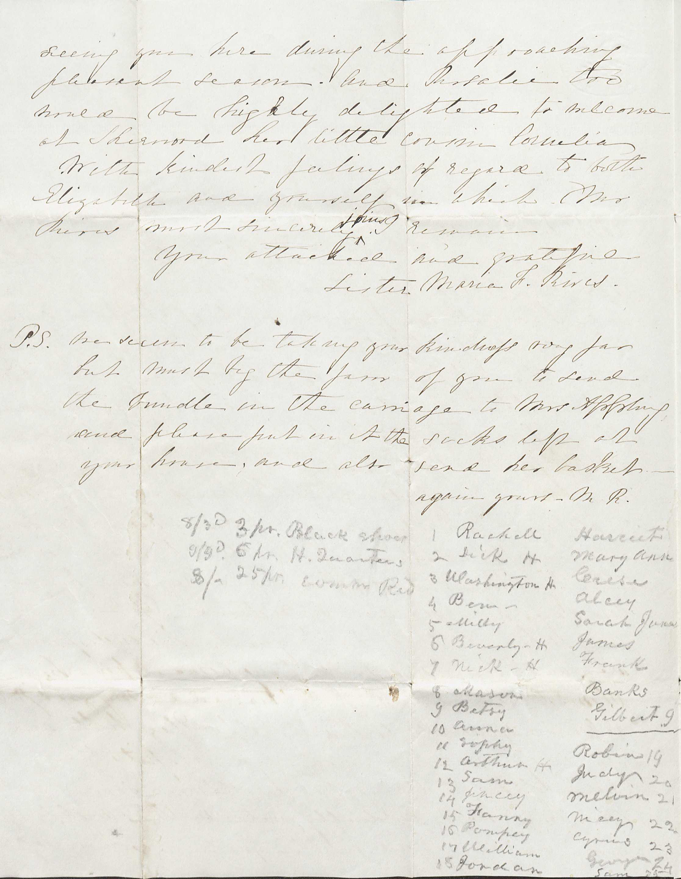 March 24, 1851 letter to Robert Rives Jr.  from his sister- in- law, Maria Rives.  In the letter Maria writes about a recent visit to Rives and his family at their home called Oakland,  and the declining health of his brother George.  The contents of the letter has no connection to the list found at the bottom of page two. Rives uses the bottom of the page as scratch paper to list the names of 34 of his slaves and supplies purchased for them. The number 22 on the list is my great-great grandmother, Nicey Ann Coles. (Image by Regina Rush)