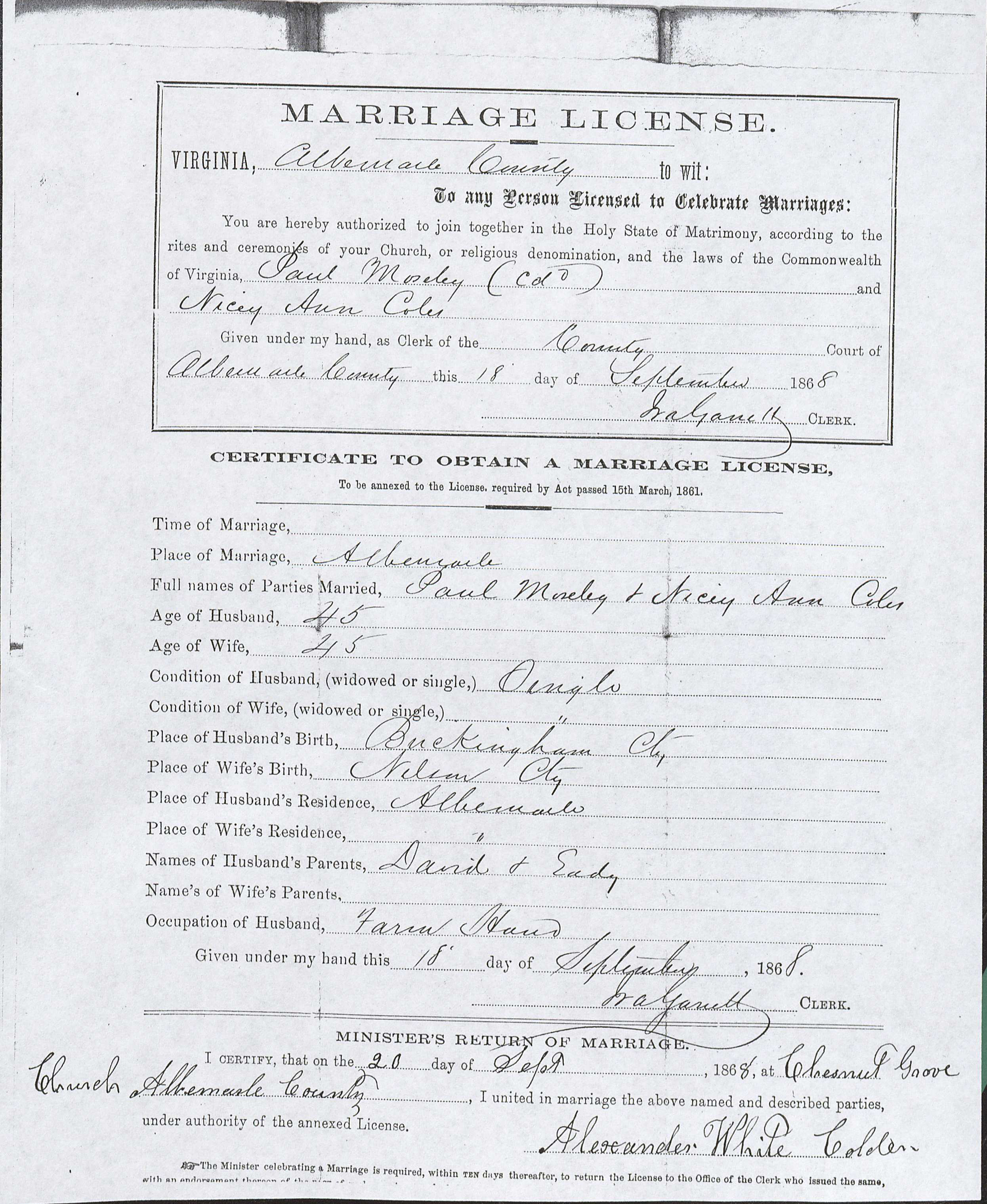 Marriage license of Nicey Ann Coles and Paul Moseley, September 18, 1868. Courtesy of the Albemarle County Courthouse, Charlottesville, Virginia, 22902 (Image by Regina Rush)