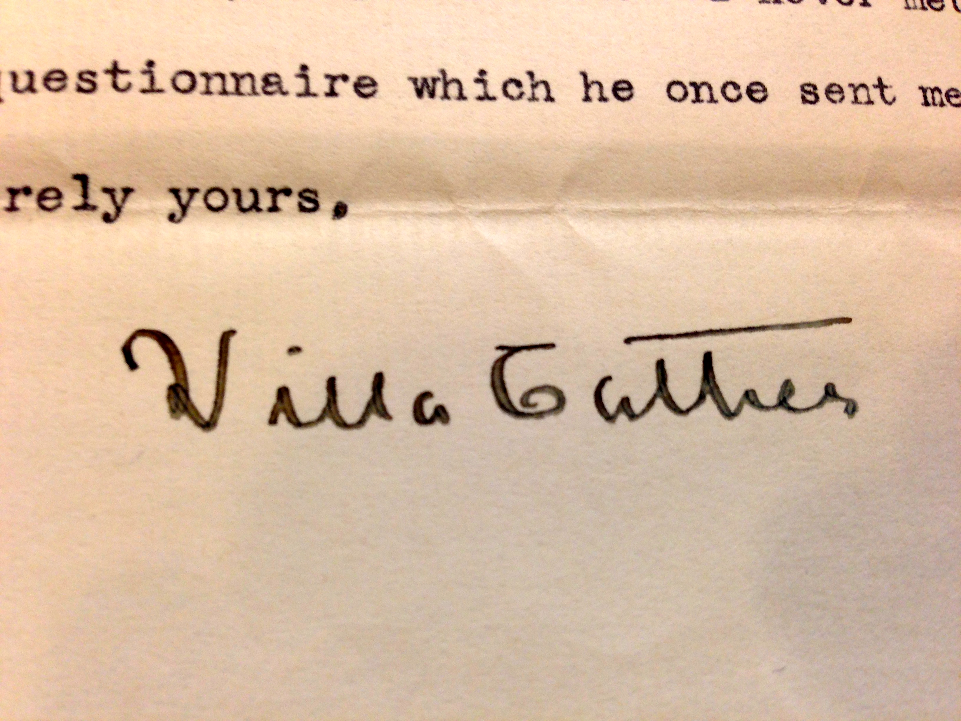 Willa Cather's signature from her letter to (Emily Caldwell)