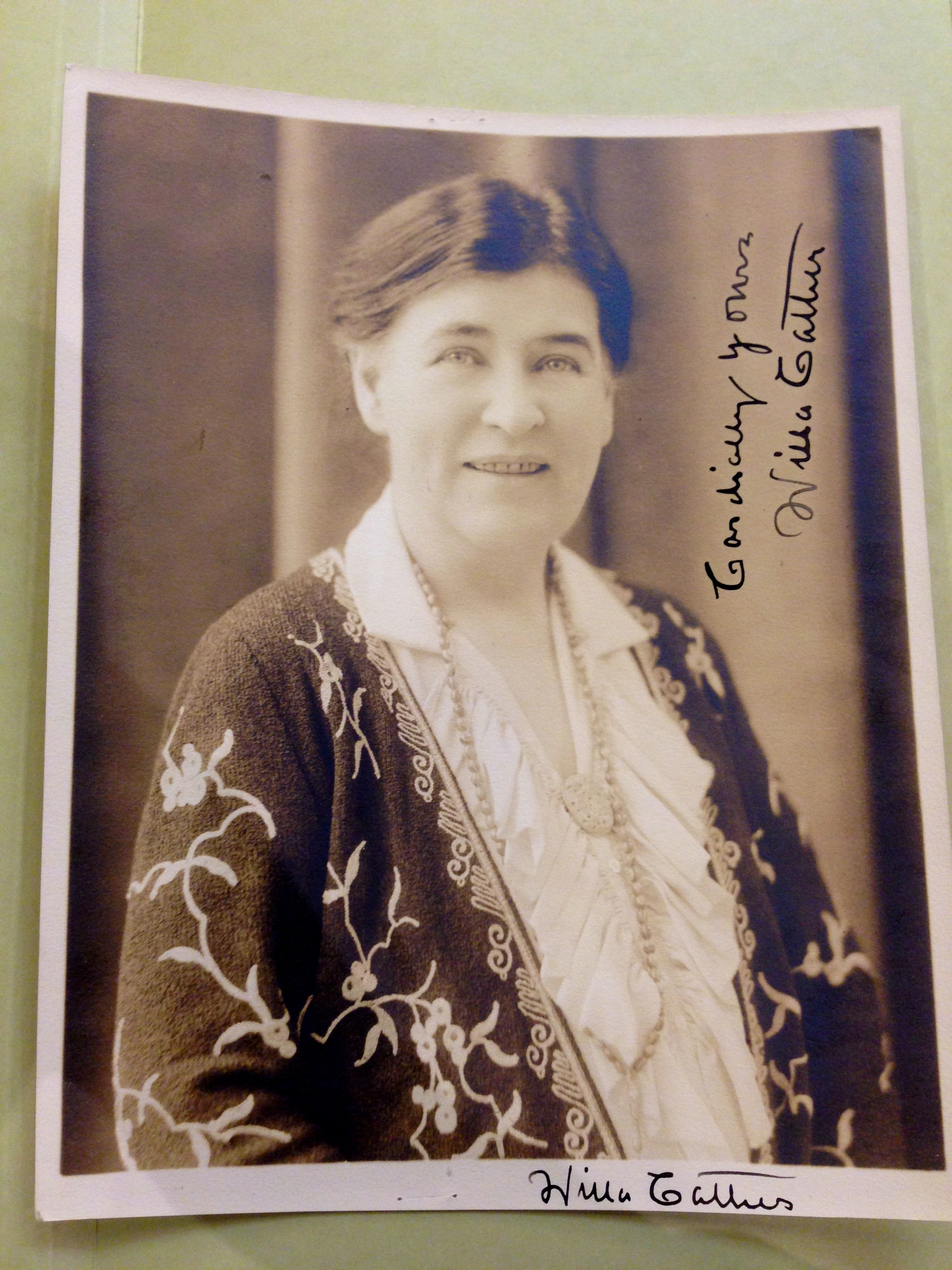 Double-signed photograph of Willa Cather, n.d. (Photograph by Emily Caldwell)