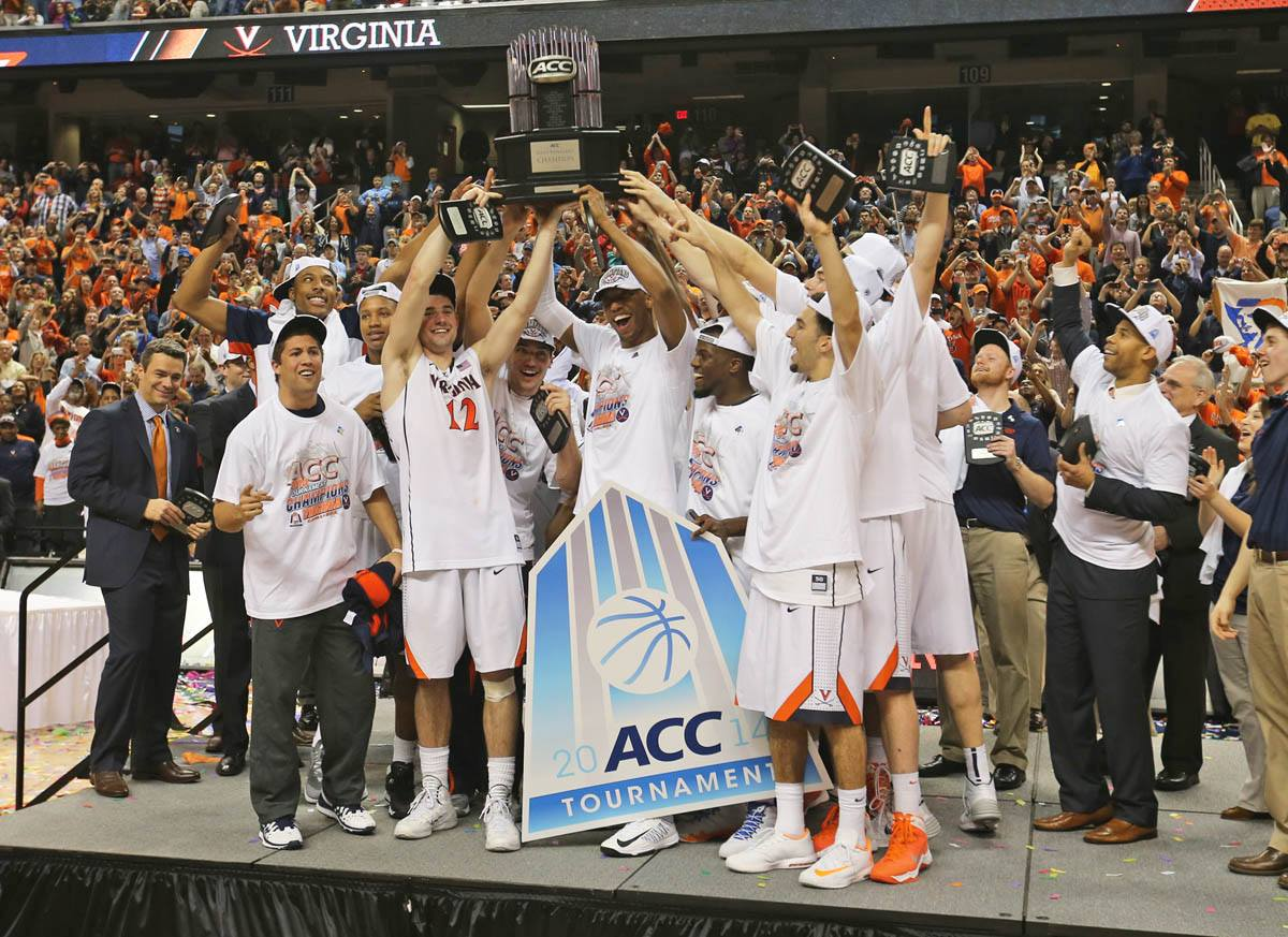 ACC CHAMPS! Cavaliers Down Duke to Win ACC Tournament Title and Regular Season Crown. This photo was taken at the Greensboro Coliseum Complex, March 2014. (Photograph by Matt Riley)