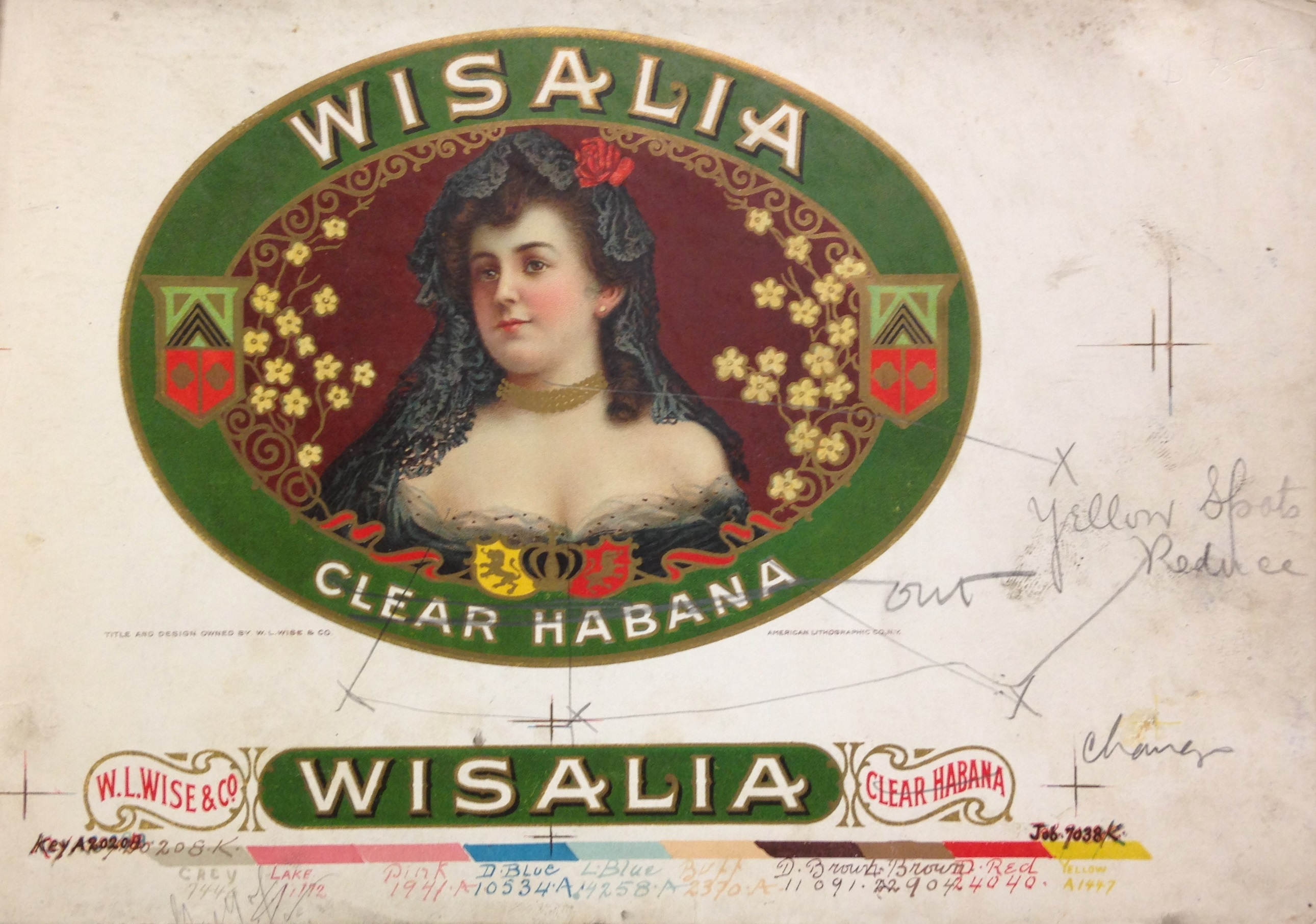 Proof of a 10-color chromolithographed cigar box label, marked up for correction (NE2515 .A54 1900)