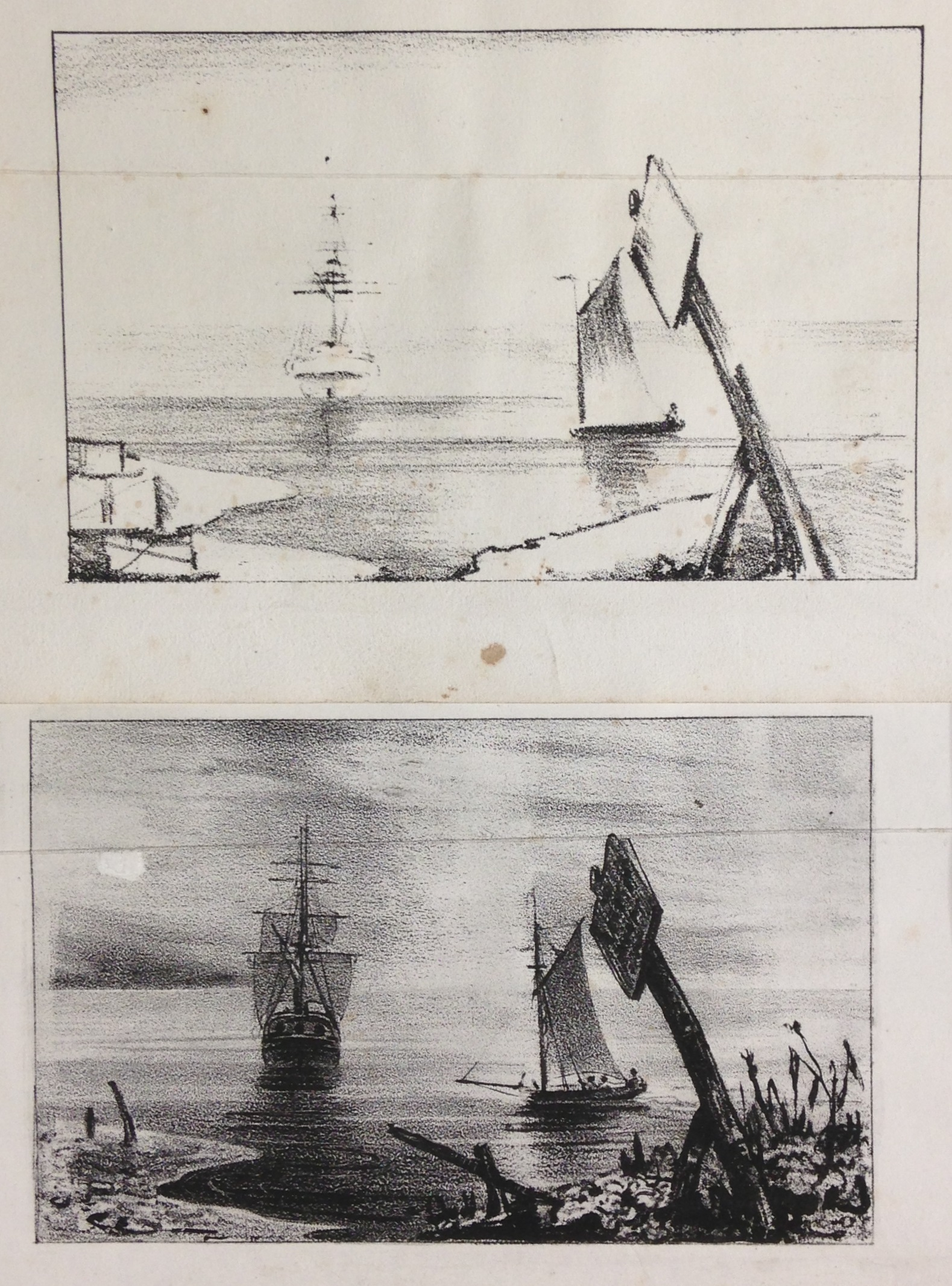 Two stages in the creation of a lithographic image, from Alphonse Chevallier, Mémoire sur l'art du lithographe (Paris, [1829])  (NE2420 .C54 1829)