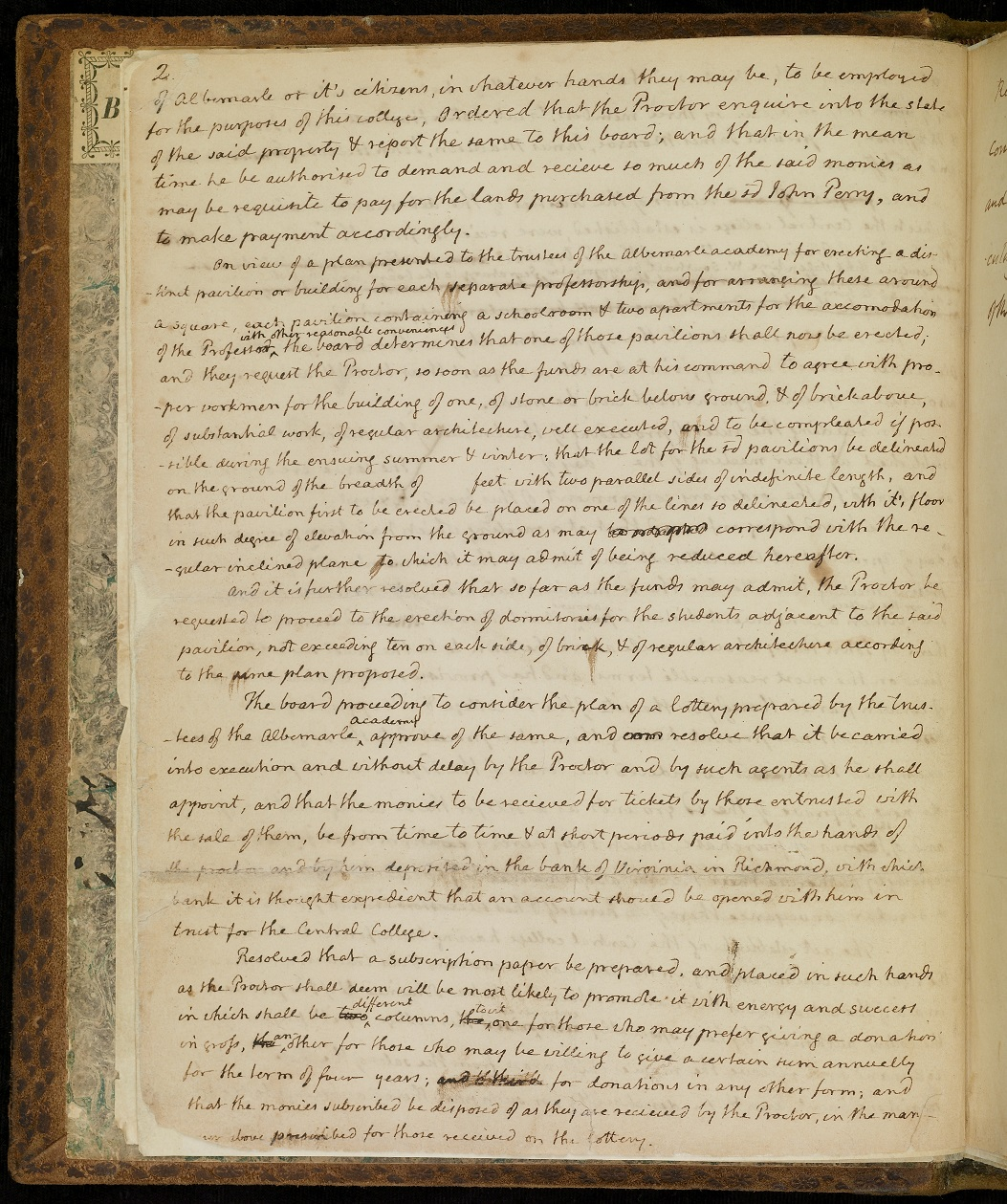 Page two of the Minute Book of the Board of Visitors, written in Thomas Jefferson's hand, 1819.