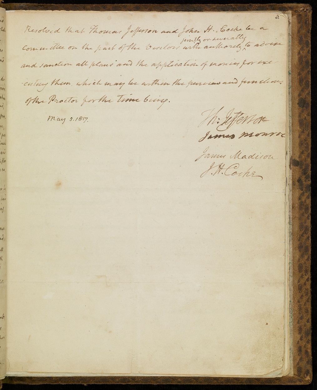 Page three of the Minute Book of the Board of Visitors, written in Jefferson's hand and signed by