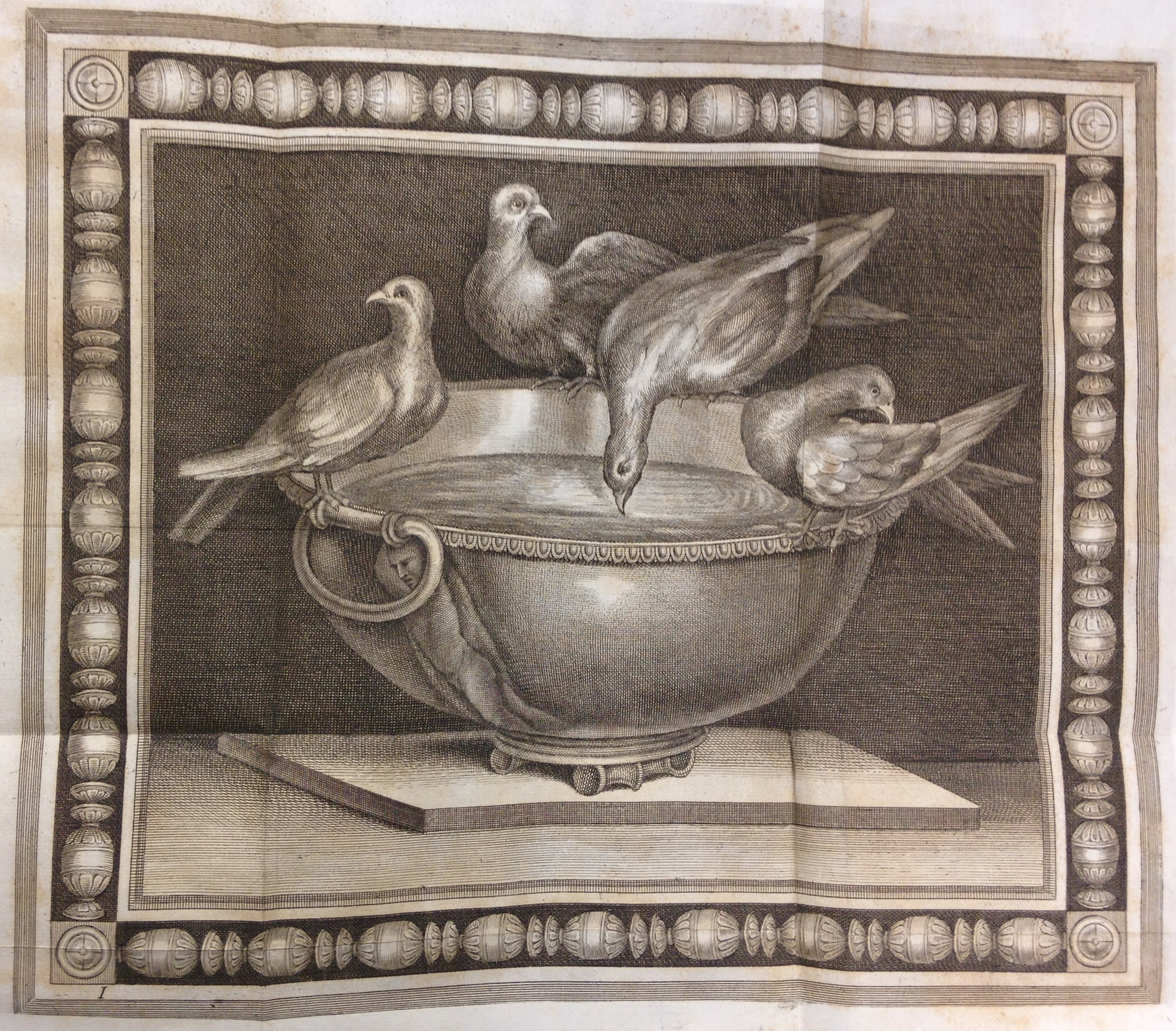 Engraved reproduction of the famous Dove Mosaic discovered by Giuseppe Alessandro Furietti at Hadrian's Villa and now in Rome's Capitoline Museum. Furietti believed it to be the actual mosaic created by Sosus for the royal palace at Pergamon, as described by Pliny the Elder in his Natural History. Giuseppe Alessandro Furietti, De musivis (Rome, 1752), plate [1].   (NA3750 .F8 1752)