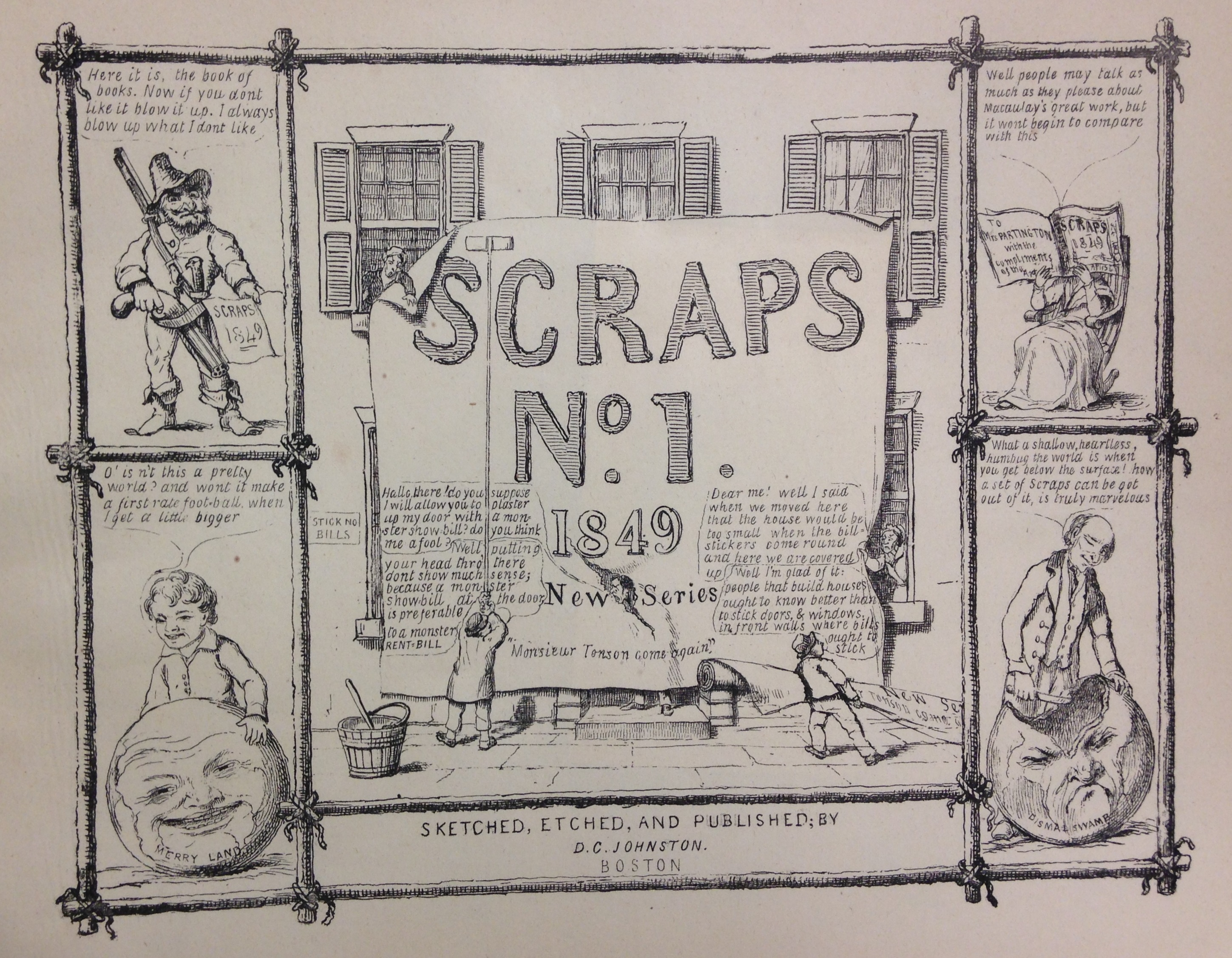 Front cover of David Claypoole Johnston, Scraps no. 1, new series (Boston, 1849).    (E166 .J65 1849)