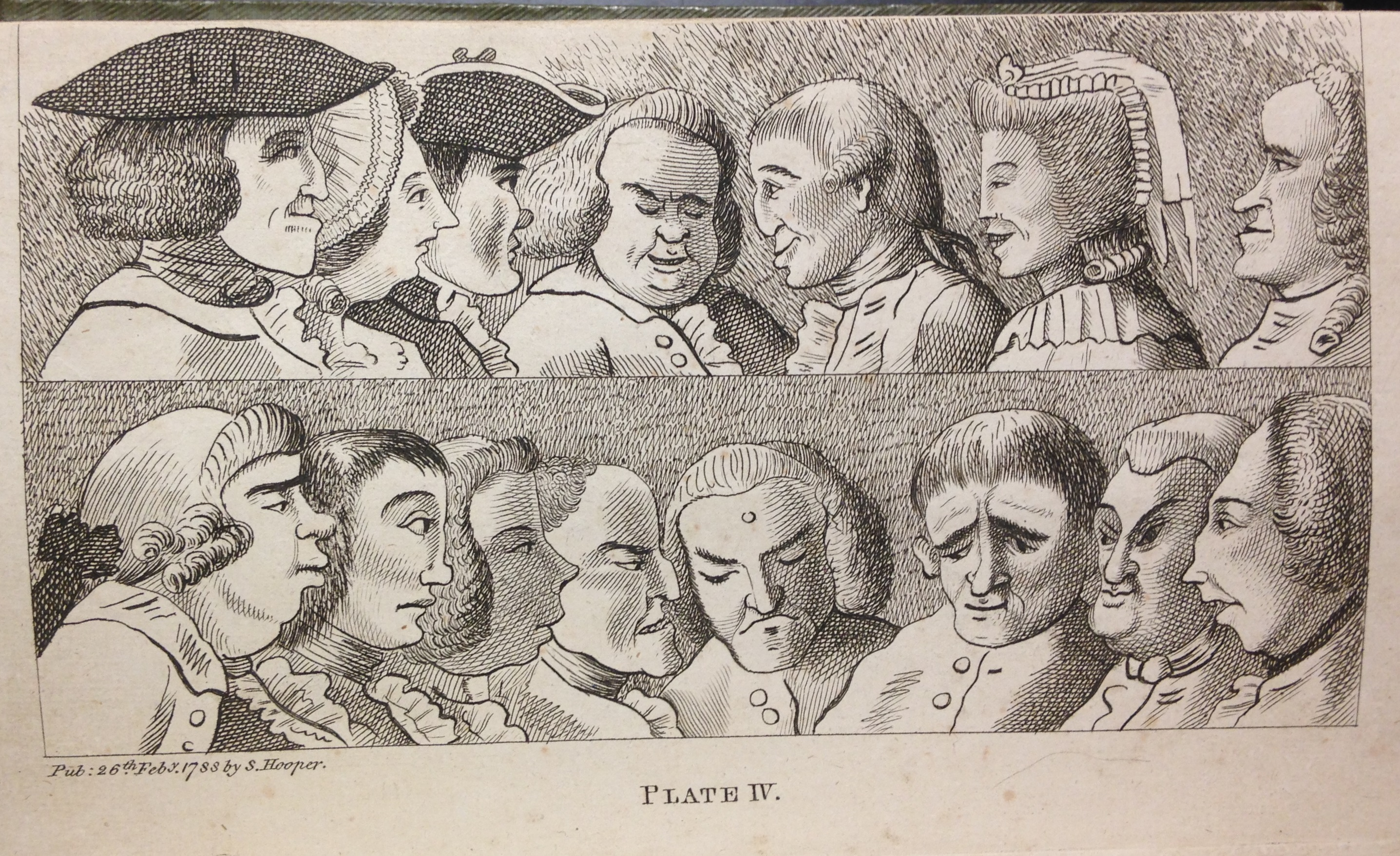 A lesson in caricature: examples of various noses, profiles, and head shapes. Francis Grose, Rules for drawing caricaturas, 2nd ed. (London, 1796), plate IV.   (NC1320 .G76 1796)