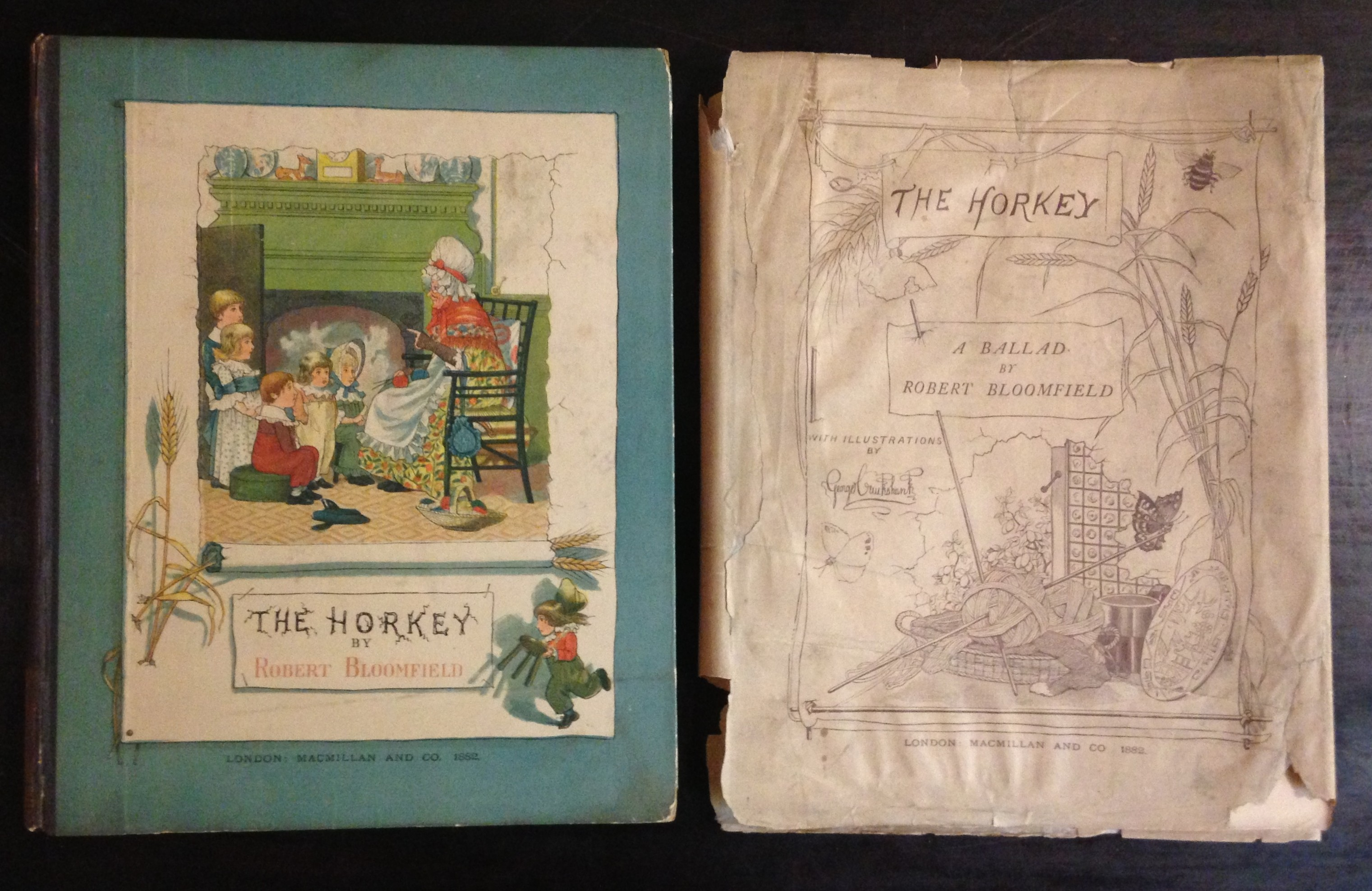 This color-printed children's book--Robert Bloomfield's The Horkey (London: Macmillan, 1882)--is bound in color-printed paper boards. The dust jacket replicates the color-printed title page design--perhaps color was considered an unnecessary extravagance for this ephemeral covering.