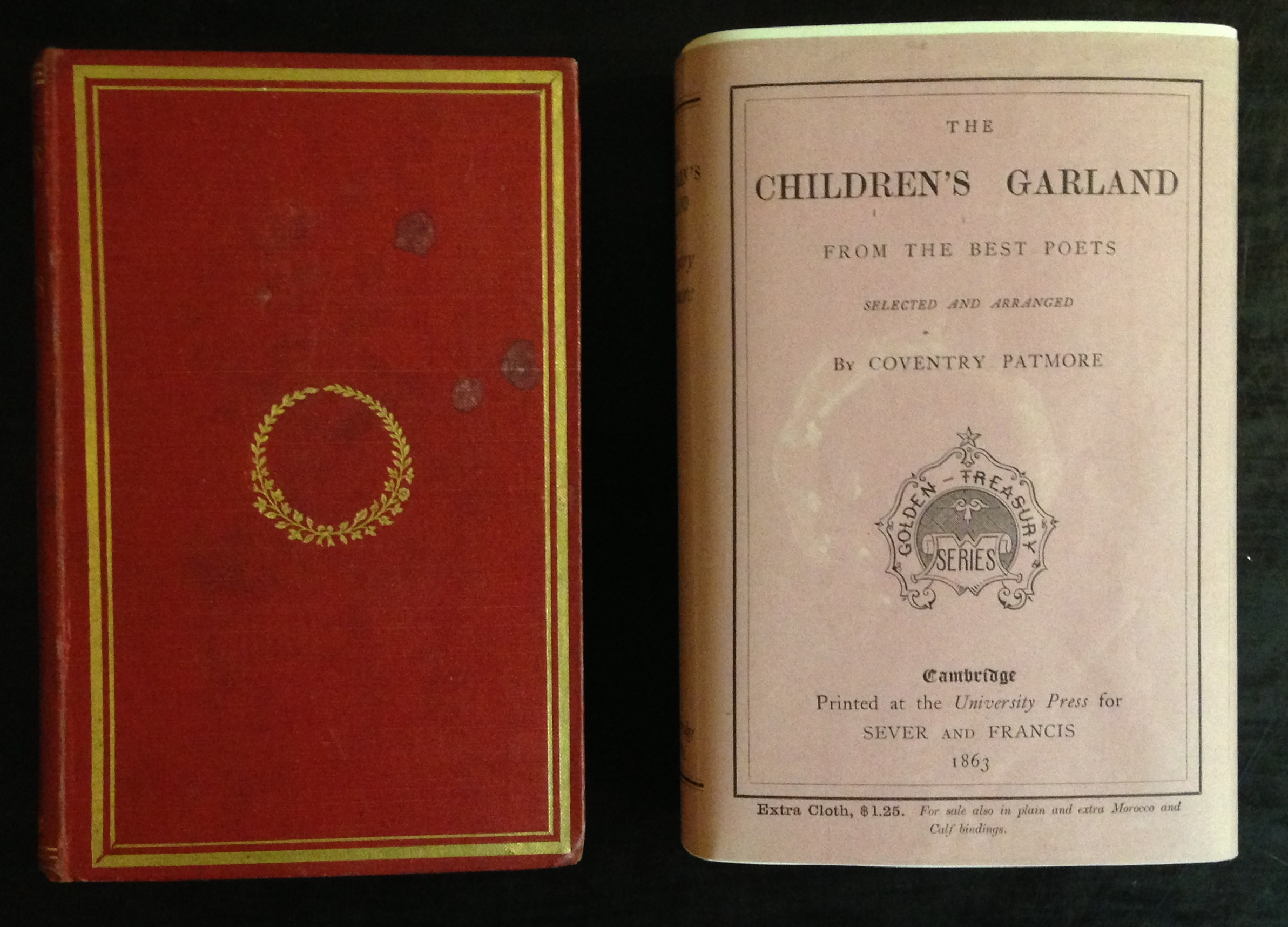 "A fine example of one of the earliest surviving American dust jackets. The Children's Garland from the Best Poets (Cambridge, Mass.: Sever and Francis, 1863) was issued in several binding styles, as advertised on the front of the dust jacket; this copy is bound in ""extra cloth"" and was priced at $1.25. The fragile jacket is printed on the spine and front panel only, and it is in the form of a wrap-around band sealed on the reverse. This example was torn open rather than slipped off the book, but otherwise it has been carefully preserved."