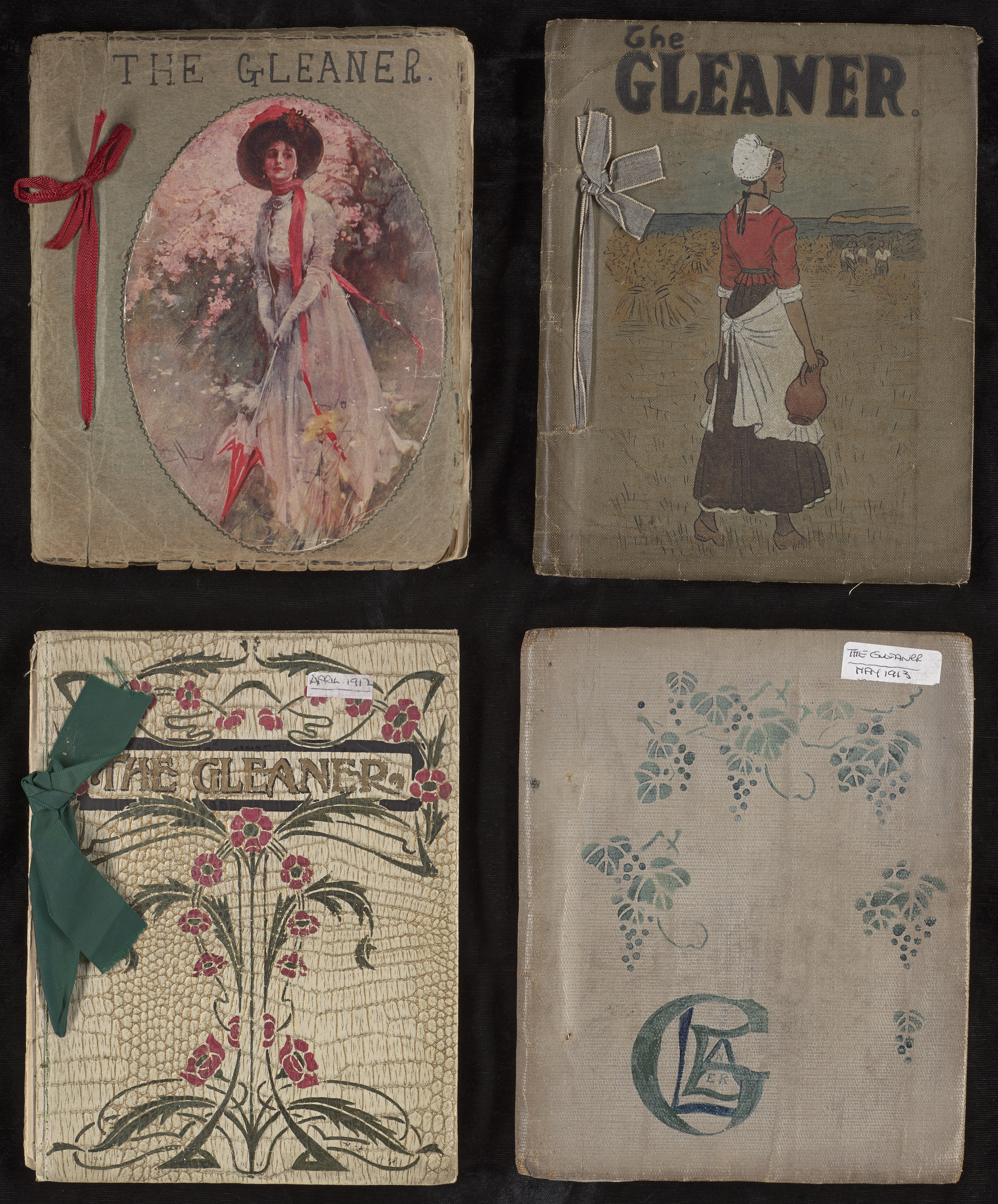 Caption 1: Cover designs for The Gleaner were contributed by members. These four early issues date from 1910-13. (Not yet cataloged, Library Associates Endowment Fund.)