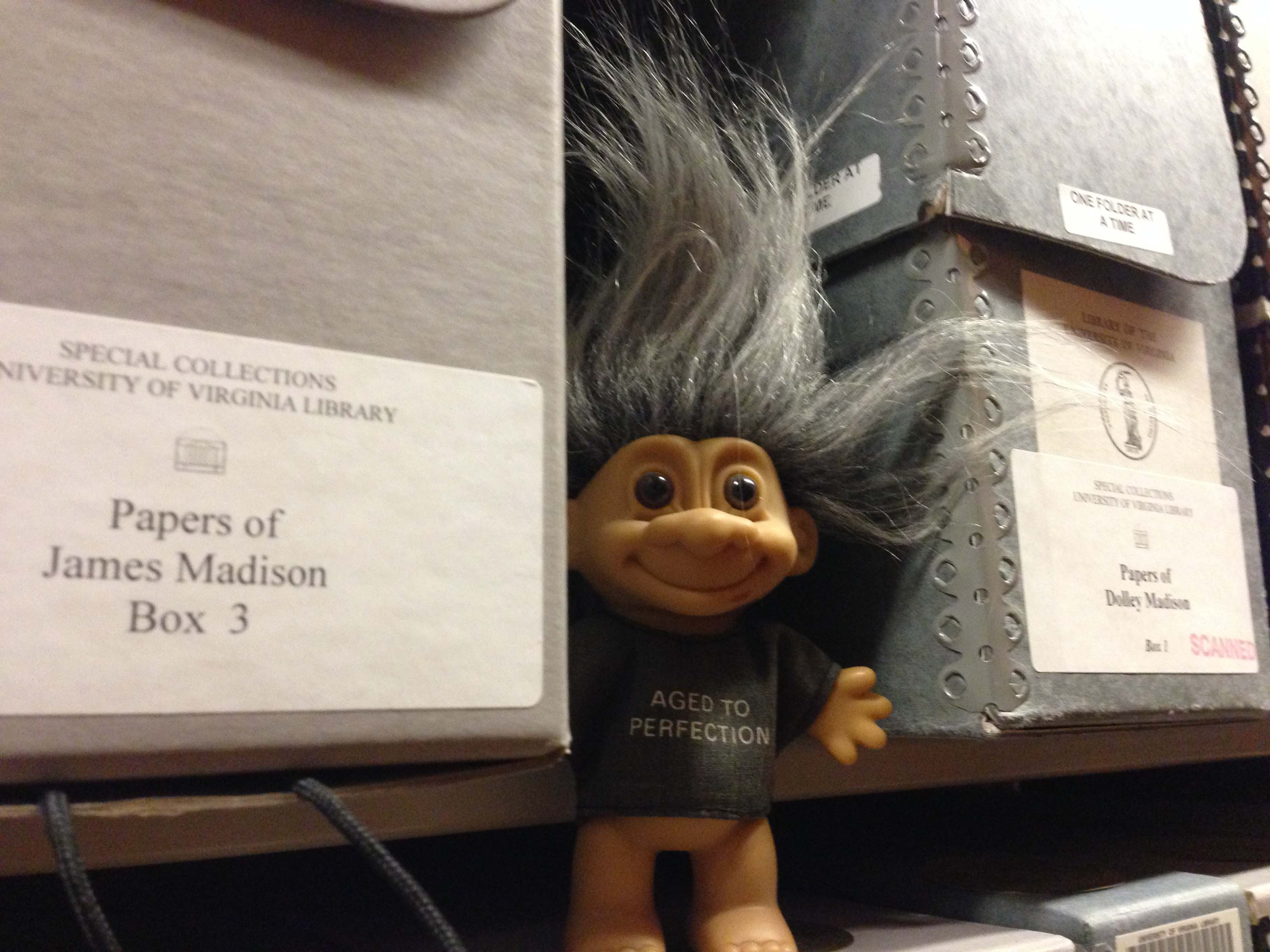 Since Tiffany's arrival we've experienced a sharp uptick in troll sightings in the stacks. Fortunately, trolls produce no threat to collection materials, but we are monitoring the situation just in case.