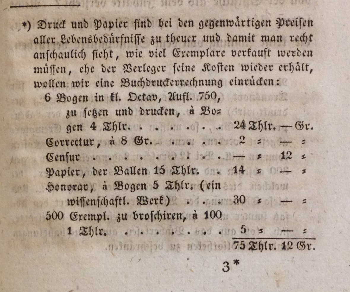 What it cost in 1825 to publish 750 copies of a 96-page octavo book in Leipzig; from Johann Adam Bergk's Der Buchhändler oder Anweisung, wie man durch den Buchhandel zu Ansehen und Vermögen kommen kann (Leipzig, 1825).     (Z 313 .B474 1825)