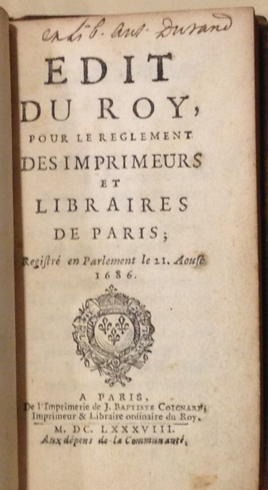Rules to live by: a comprehensive set of regulations governing all members of the Paris book trades. Published in 1688 in a small format suitable for carrying around in one's pocket.     (Mini KJV 5973 .A35 1688)