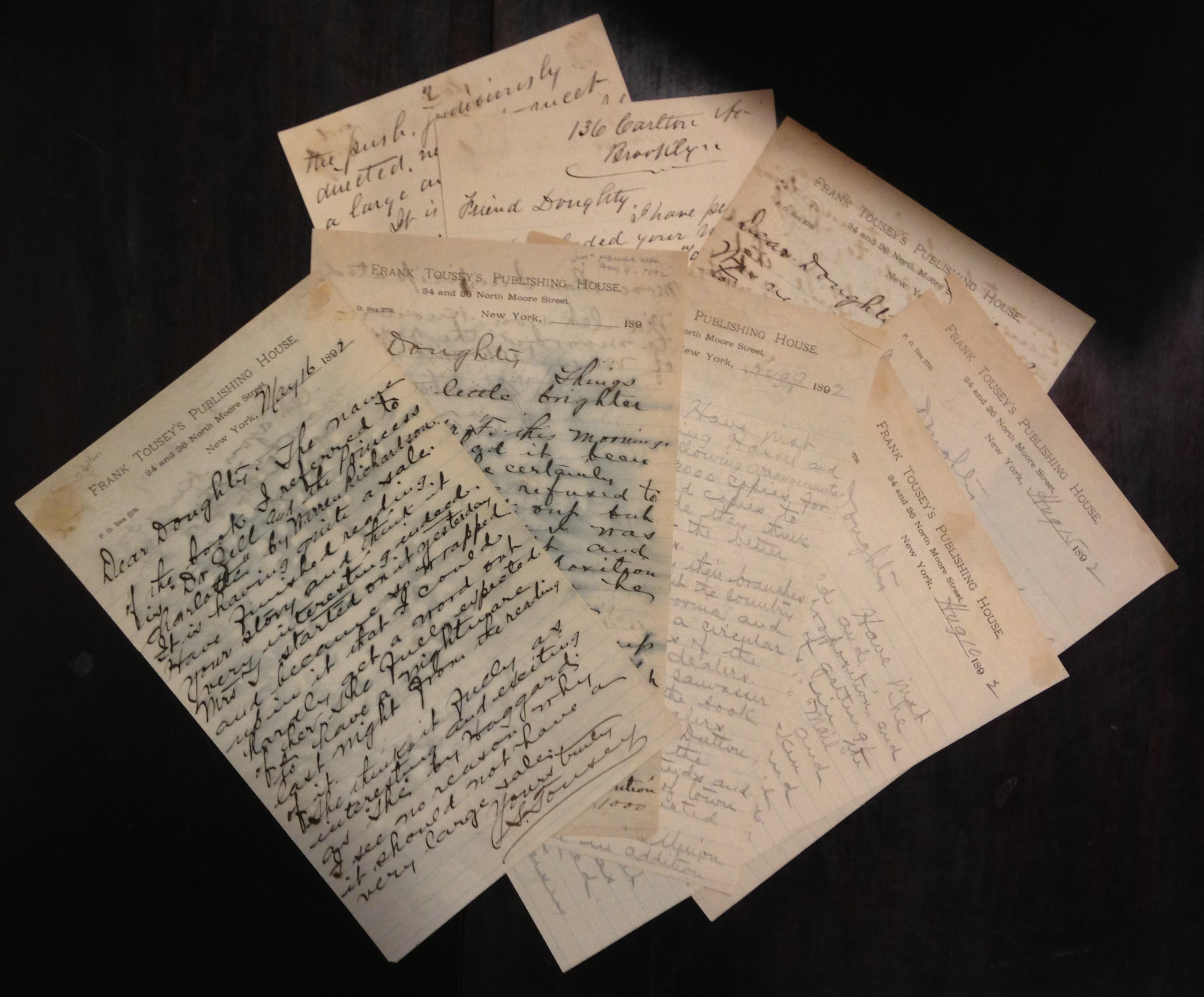What, no book tour?  Francis W. Doughty and his agent Sinclair Tousey scheme to place copies of Doughty's science fiction novel, Mirrikh, or, a woman from Mars (1894) in the hands of eager readers.     (MSS 15790)
