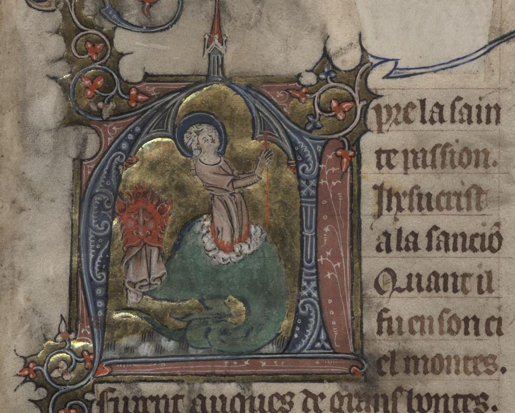 One of the images students viewed was this page from the Verse life of St. Margaret from a Picardy Book of Hours, ca 1325. Image by UVA Library Digital Services.