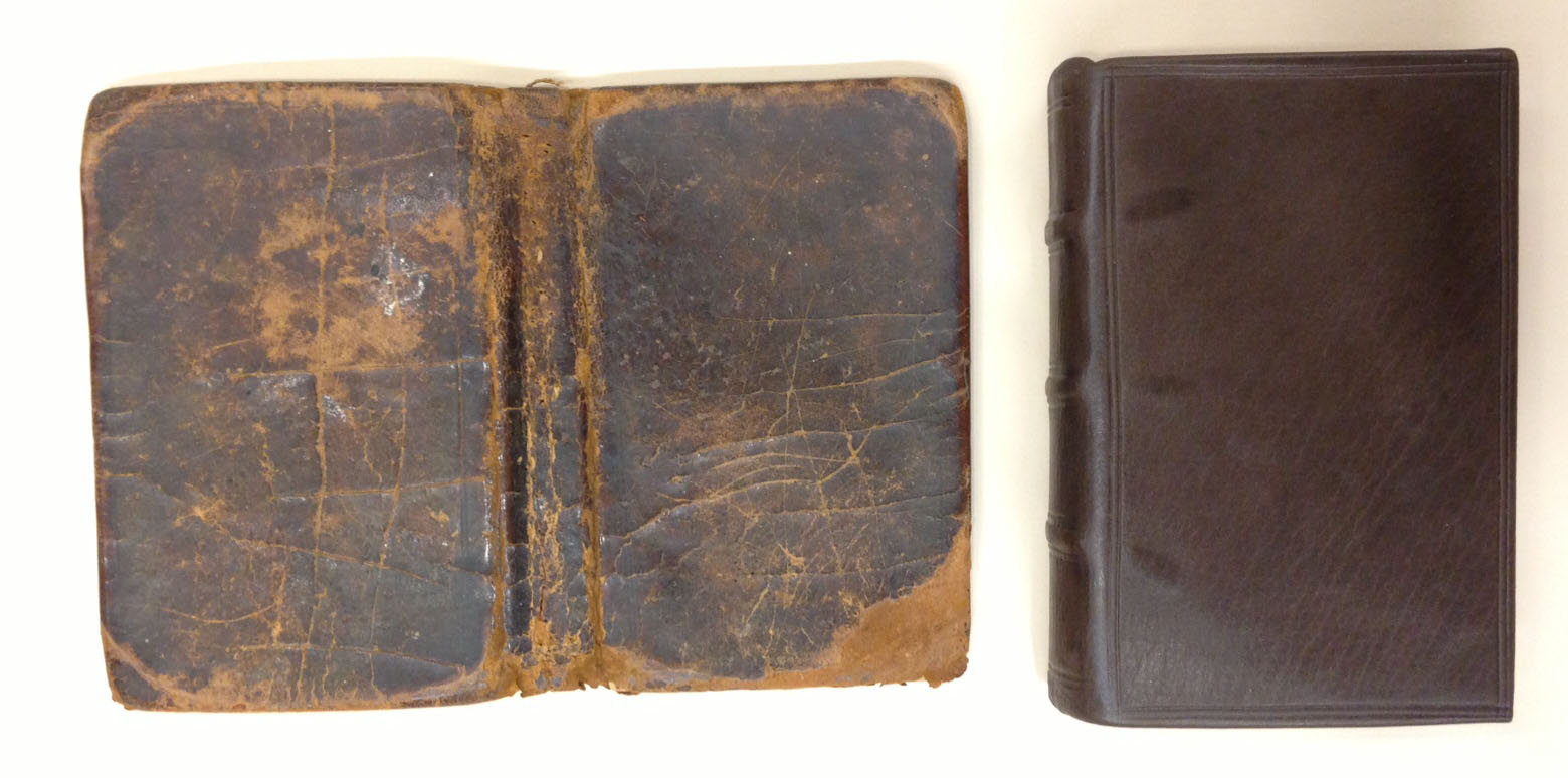 At left is the volume's original blind-tooled calf binding. At right is the volume in its new calf binding by U.Va. Library conservator Eliza Giligan, copying the original style and structure.