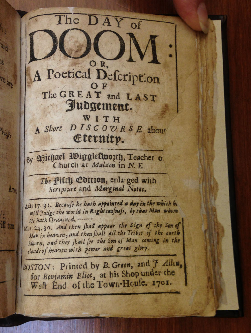 The title page to Michael Wigglesworth's The Day of Doom (Boston, 1701). It is bound, as issued, following the second edition of Wigglesworth's other verse collection, Meat Out of the Eater (Boston, 1689).