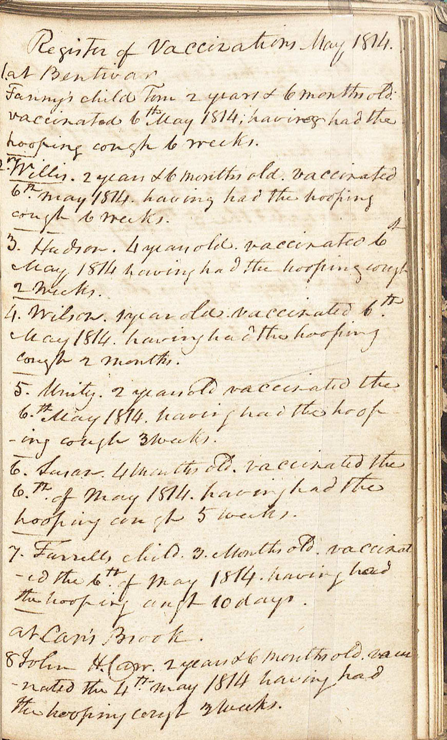 Frank Carr's Journal and Commonplace Book, 1810-1838 (MSS 15444)  C. Venable Minor Endowment Fund, 2012/2013. This is the personal journal of Frank Carr, which includes a register of vaccinations during May, 1814 and an extensive description of a man's case of hydrophobia.