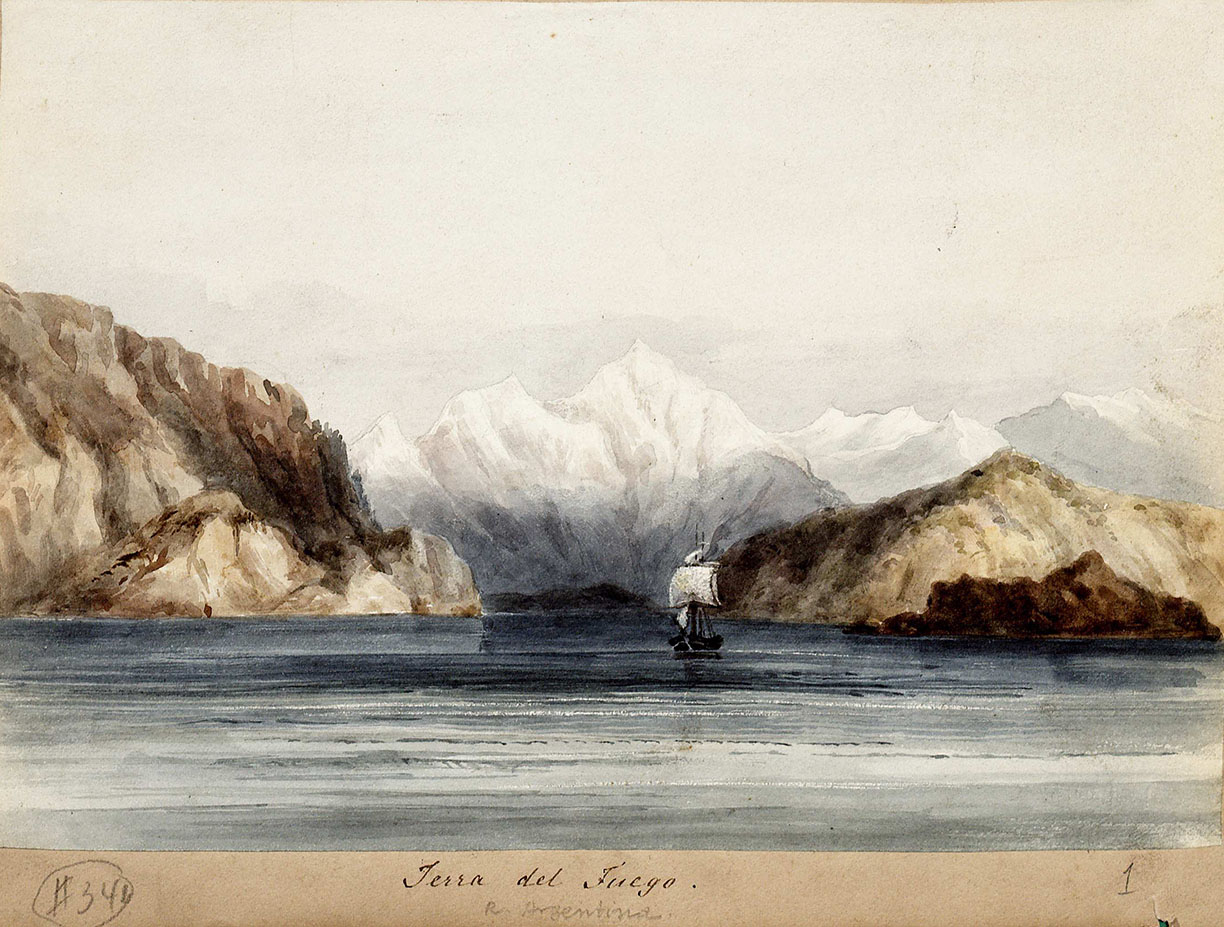 Martens, Conrad. Terra Del Fuego: H.M.S. Beagle Under the Land, ca. 1834.  (MSS 3314)  Paul Victorius Evolution Collection This watercolor of the H.M.S. Beagle reflects the ship landing in Tierra Del Fuego, a South American archipelago. Darwin developed many of his early evolutionist theories during his almost five-year expedition on this ship. Darwin discusses some of his findings from the expedition in his book The Voyage of the Beagle.