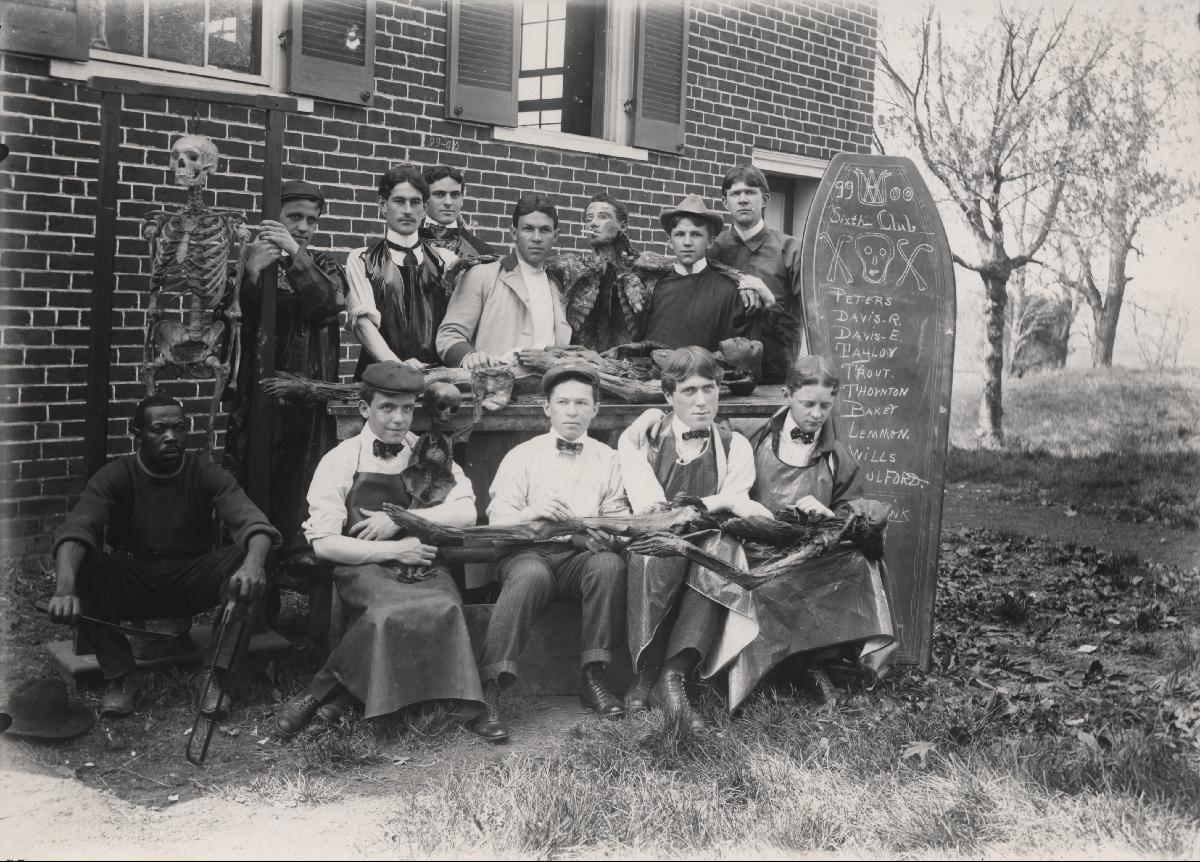 Photograph of U.Va. Medical Students, The Sixth Club. Facsimile.  (RG-30/1/10.011) University of Virginia Visual History Collection This picture taken in 1899 shows University of Virginia medical students posing with cadavers they have been studying.