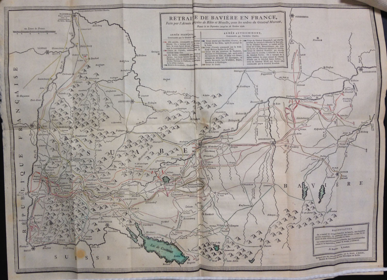 """""""Retraite de Bavière en France … 26 Octobre 1796,"""" from Tableaux historiques & topographiques, ou Relations exactes et impartiales des trois événemens mémorables qui terminèrent la campagne de 1796 sur le Rhin (Basel: Chrétien de Mechel, 1798).   (DC220.8 .T3 1798)"""