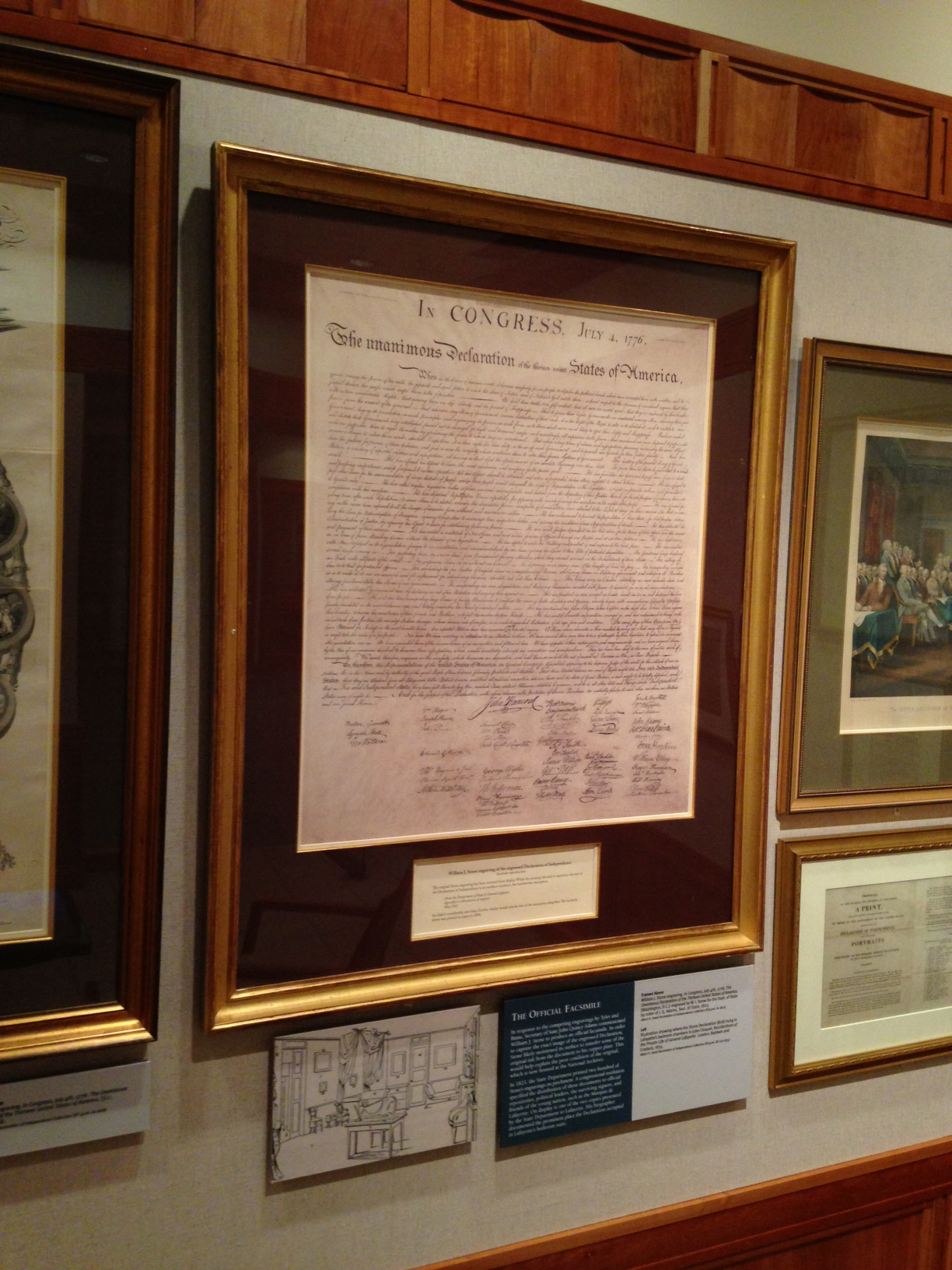 "The Marquis de Lafayette - Albert H. Small copy of the 1823 ""Stone"" facsimile of the Declaration of Independence, on display in the Small Special Collections Library's Declaration Exhibition Gallery.   (KF4506 .A1 1823; Gift of Albert H. Small)"