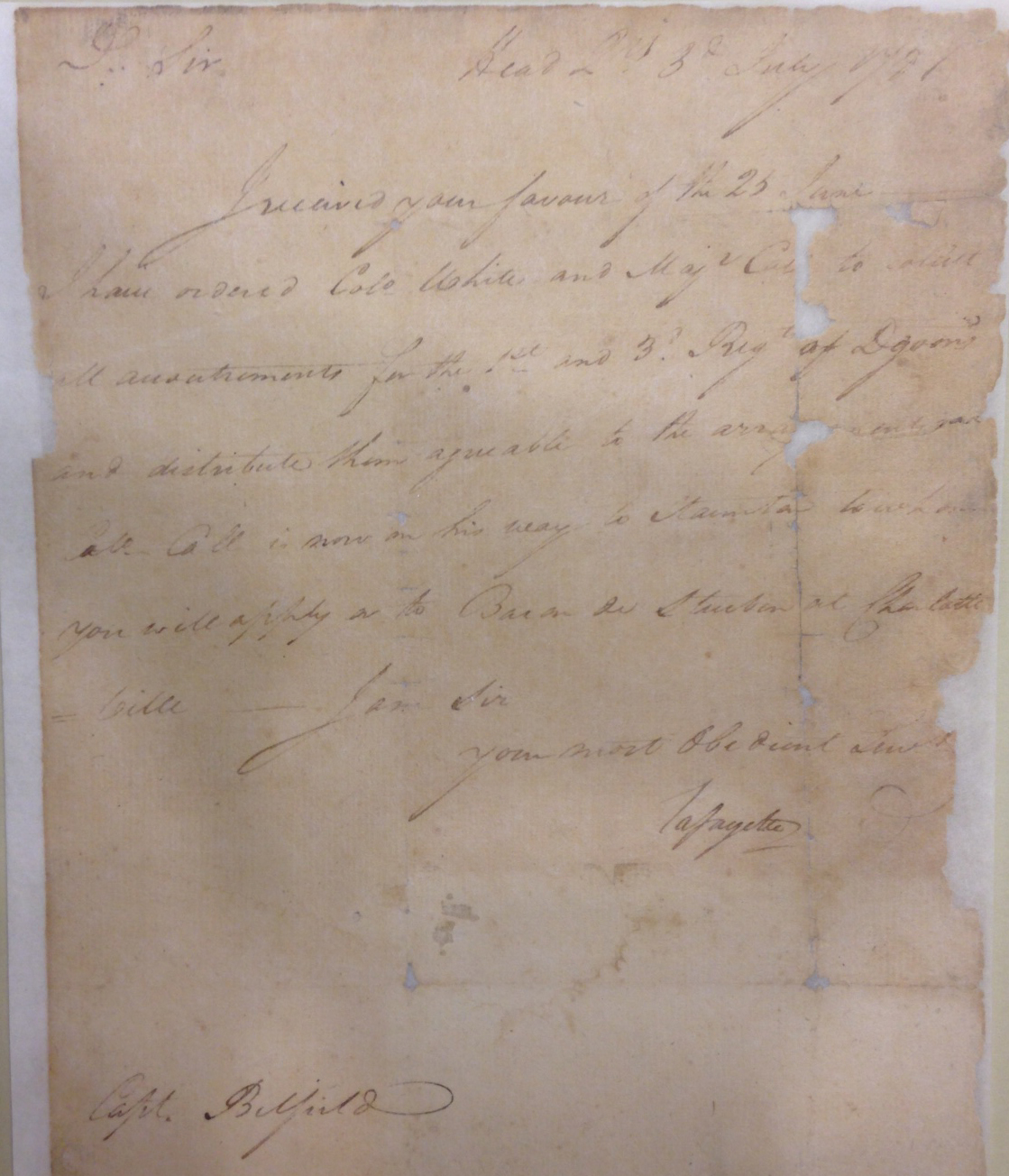 Lafayette sends orders to Capt. Belfield in Staunton, Va., July 3, 1781.   (MSS 8097)