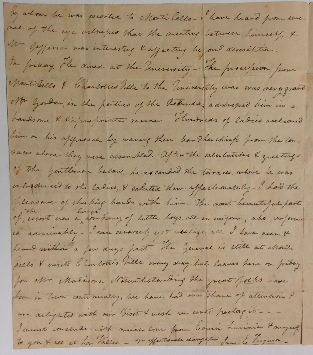Jane E. Ferguson's account of Lafayette's reception at the U.Va. Rotunda on November 8, 1824.   (MSS 38-122-a)