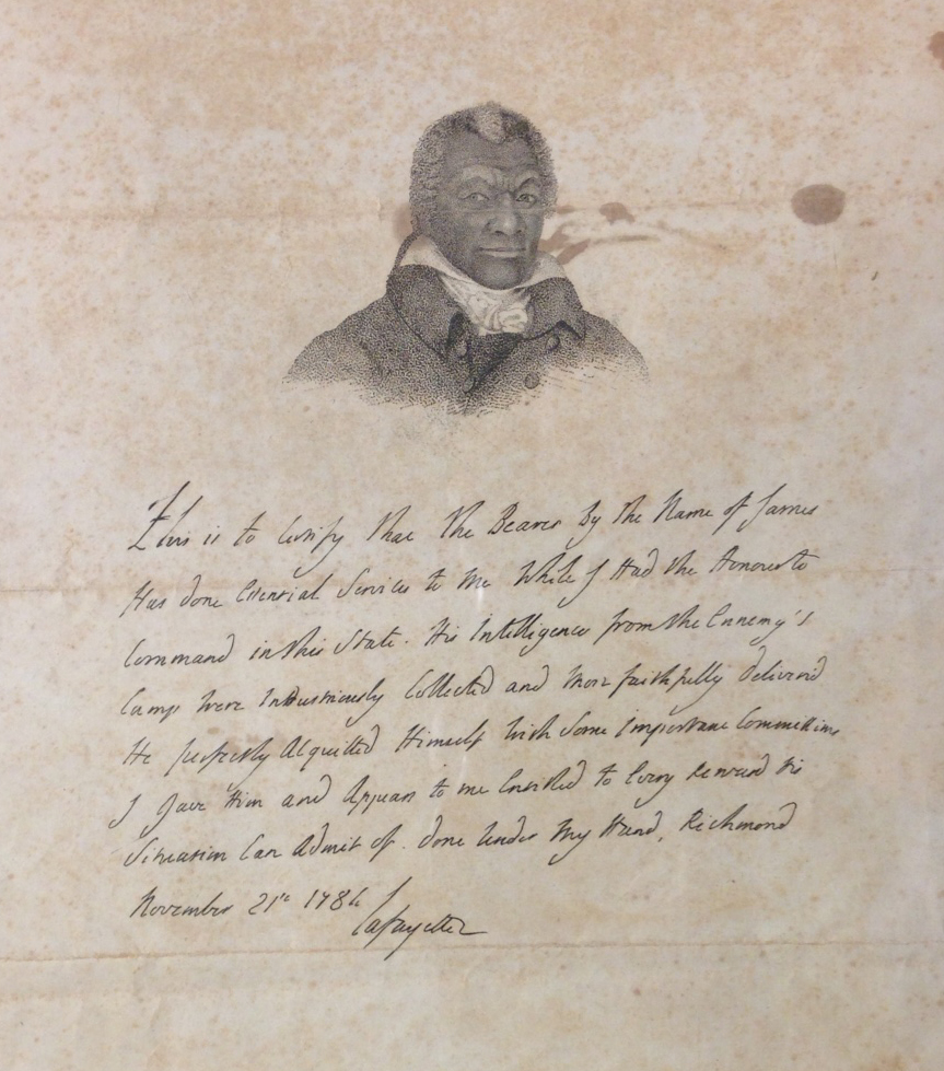 An engraved facsimile, ca. 1824, of Lafayette's 1784 testimonial letter on behalf of James Armistead Lafayette, with added portrait.   (Broadside 1824 .L25)