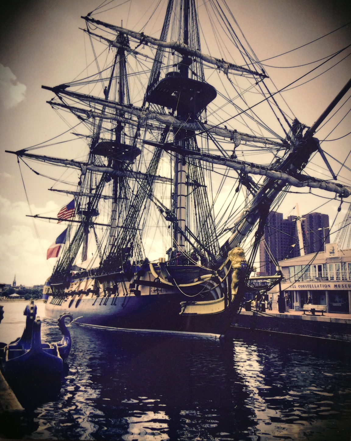 The Hermione at anchor in Baltimore's Inner Harbor, June 2015.   (Gift of Albert H. Small)