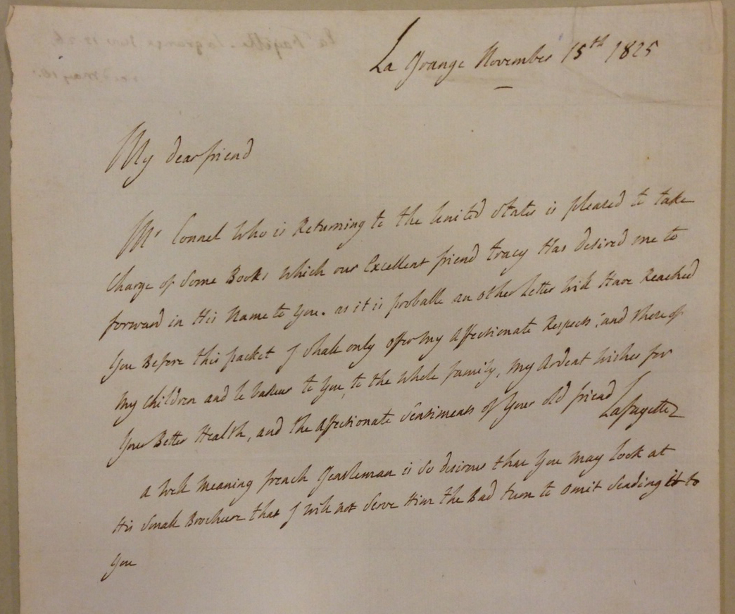 Lafayette to Thomas Jefferson, November 15, 1825.  (MSS 8885)