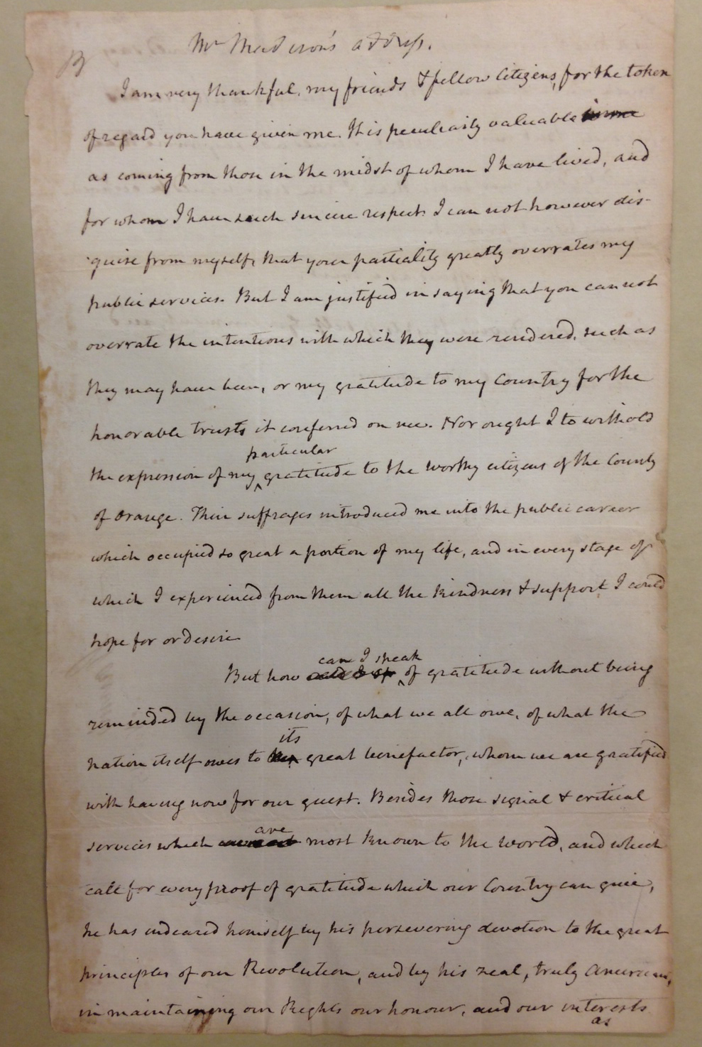 James Madison's remarks introducing Lafayette to the citizens of Orange, Va., November 25, 1824.   (MSS 4677)
