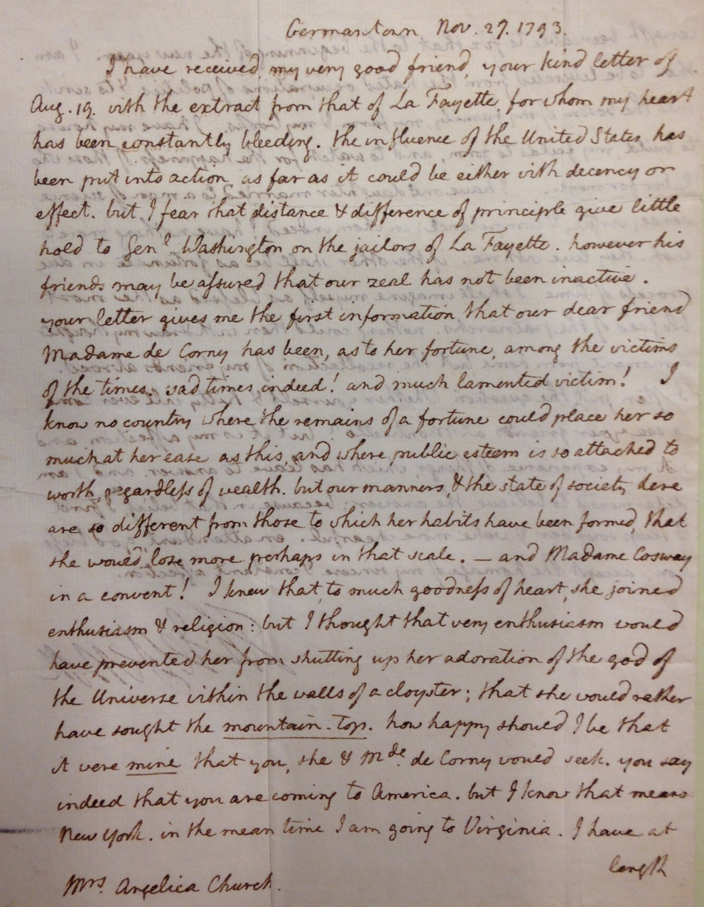 Thomas Jefferson's letter of November 27, 1793 to Angelica Schuyler Church, in which he discusses American efforts to free Lafayette from a French prison.   (MSS 11245-b)