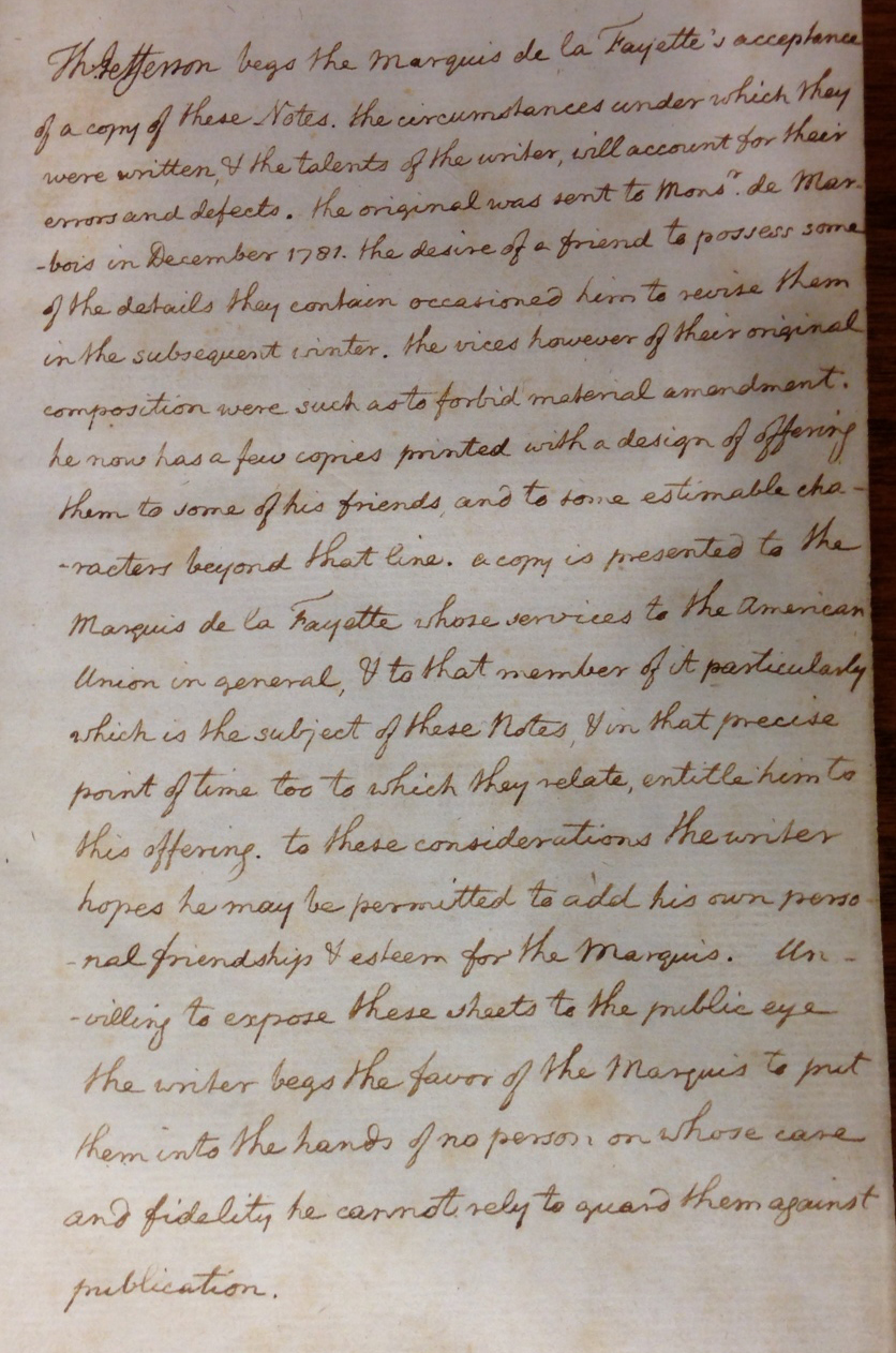 Jefferson's presentation inscription to Lafayette in the gift copy of Notes on the State of Virginia (Paris, 1784-1785).   (F230 .J4 1785; Gift of William Andrews Clark, Jr.)