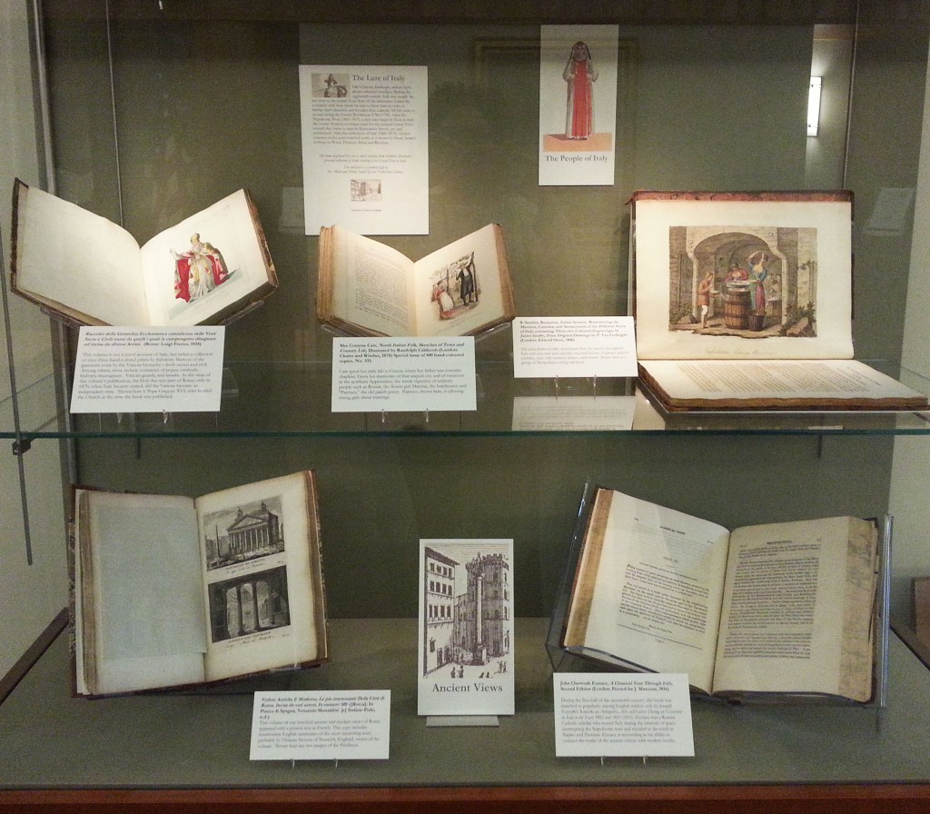 "Books featuring ancient views from the exhibition ""The Lure of Italy."" Photograph by Petrina Jackson."