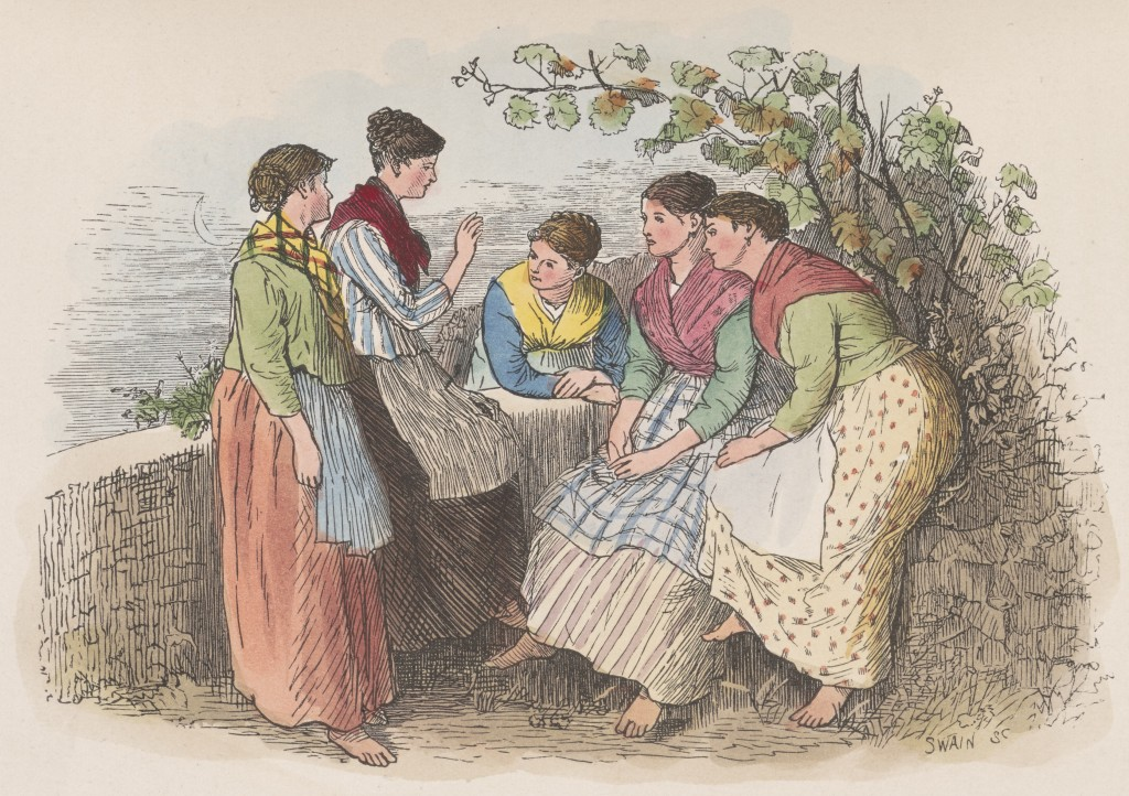 """Gossip"" from Mrs Comyns Carr, North Italian Folk, Sketches of Town and Country Life, Illustrated by Randolph Caldecott (London, Chatto and Windus, 1878). Image by Digital Production Group."