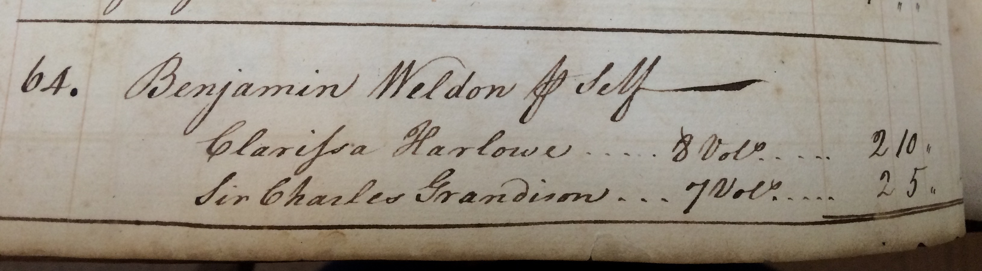 "Alongside Shakespeare in the Virginia Gazette Daybook, I found a recorded purchase of two of Samuel Richardson's novels, ""Clarissa: Or, the History of a Young Lady"" (1747-8) and ""The History of Sir Charles Grandison"" (1753)."