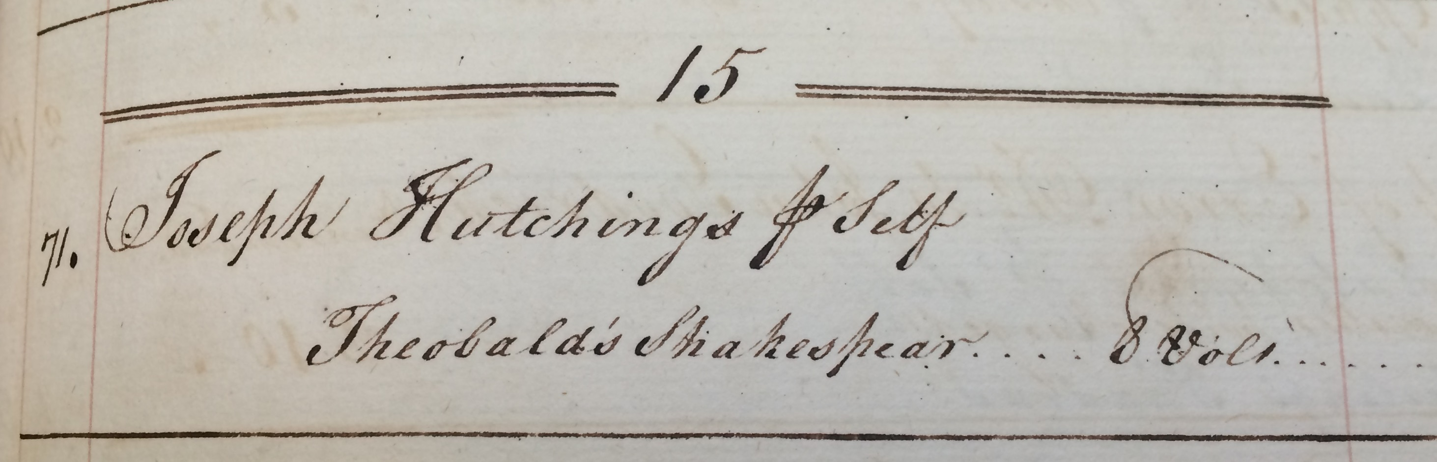 "Joseph Hutchings purchased 8 volumes of of Shakespeare ""for [his] self"" (MSS 467)."