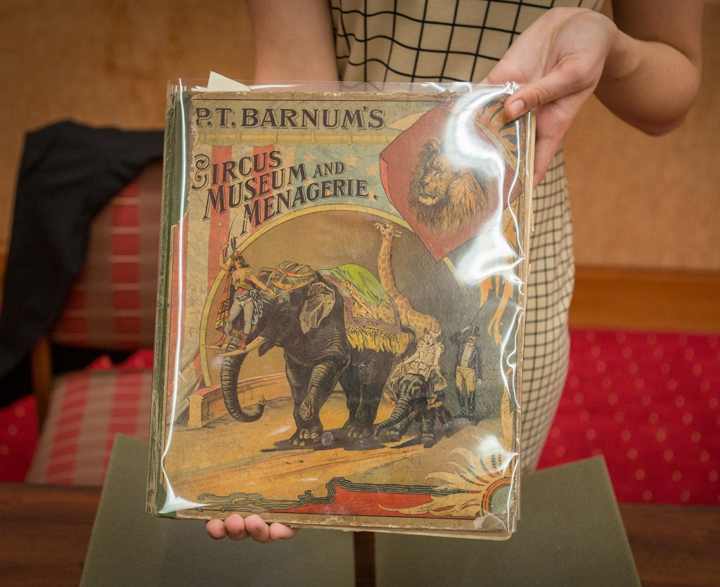 "Barnum, P. T, and Sarah J Burke. P.T. Barnum's Circus, Museum and Menagerie. New York: White & Allen, 1888. (PZ10.3 .B266 Ci 1888). Gift of Mr. & Mrs. W.B. Murphy This children's book, written by P.T. Barnum, takes the reader on a tour of P.T. Barnum's Circus and Menagerie. Some of the famous oddities include General Tom Thumb, the ""Skye Terrier Family,"" and the White Elephant."