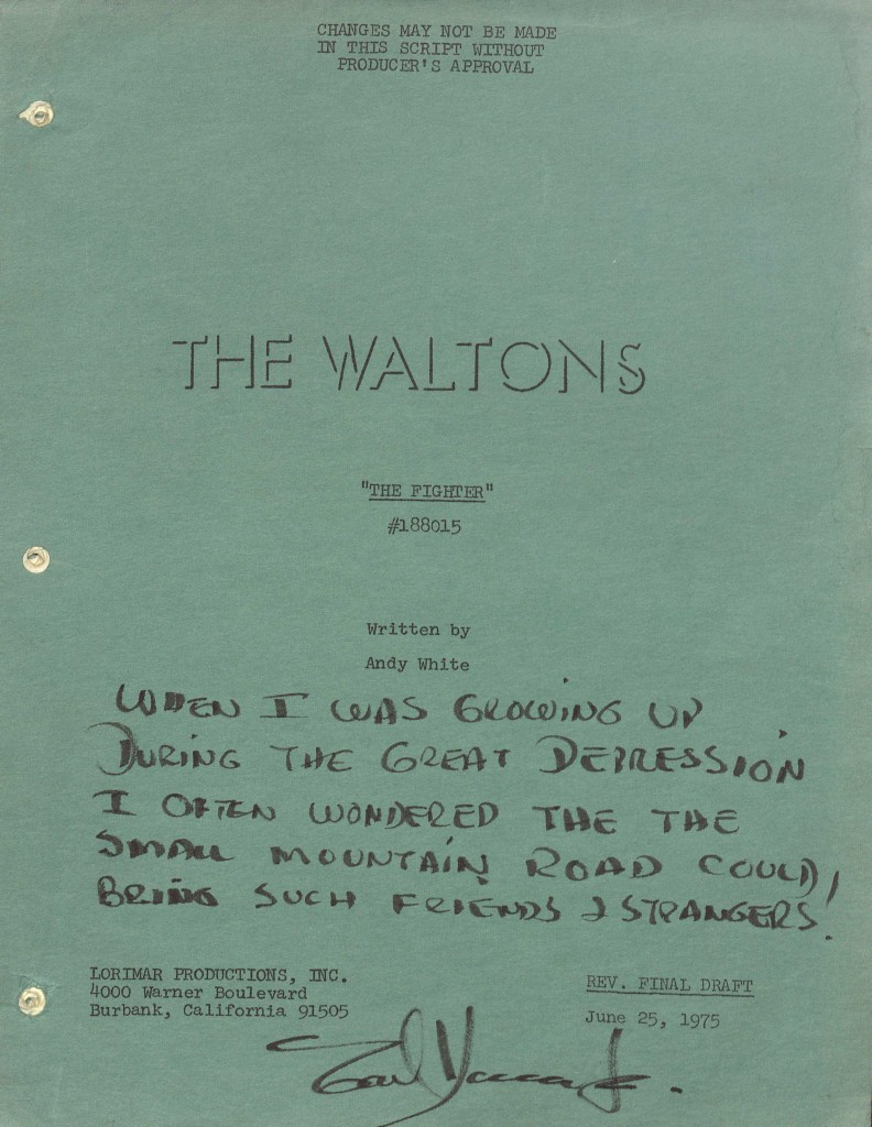 The final draft of of The Waltons television script