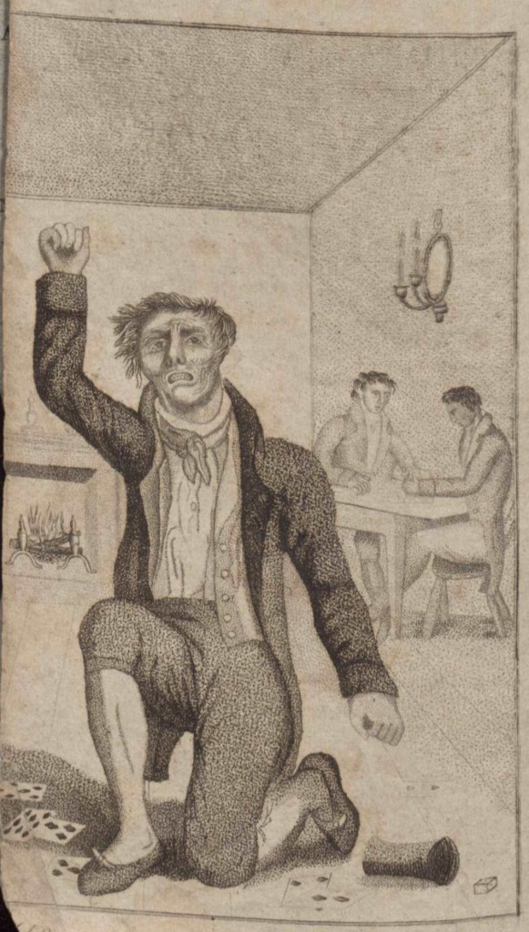 "M.L. Weems. God's revenge against gambling: Exemplified in the miserable lives and untimely deaths of a number of persons of both sexes, who had sacrificed their health, wealth, and honour, at gaming tables. Philadelphia, ca. 1822. (A1822.W43) Around 1822, the former rector of Mount Vernon Parish, M.L. Weems wrote about the deaths of more than six individuals, which he believed was the result of gambling. His book condemns an immoral generation of gamblers as sinners before God and criminals in society. Showing a measure of empathy, Weems seeks to dissuade innocent, young people, including his son for whom he addresses the book, from falling for this temptation at gaming tables. Past the frontispiece, which depicts a deformed man on bended knee cursing cards and dice, Weems writes, ""I conjure my boy to shun the gambler's accursed trade; for its, 'way is the way to hell, going down in the chambers of death."" (Image by Petrina Jackson)"