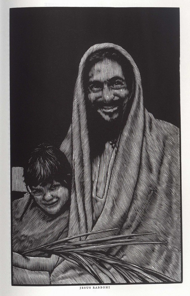 "Image of Jesus and child from The Holy Bible: containing all the books of the Old and New Testaments. North Hatfield, Mass: Pennyroyal Caxton Press, 1999. (BS185 1999 .N67) The Pennyroyal Caxton Bible, published in 1999, is the first fully illustrated Bible in almost a century. Artist Barry Moser worked full time over the course of three-and-a-half years to hand carve the 233 incredibly lifelike and distinct images, working mostly from live models and creating an everyman visualization of the text, particularly unnerving in its realistic depiction of malicious figures, including Satan. His inspiration for Jesus, a chef at a local restaurant, is a significant variation from previous hyper-Anglicized depictions of Christ. The book maintains long-standing traditions in printing red rubrics of the words ""God"", ""Christ"", and ""Amen"" at the beginning and end of each Testament. The Bible maintains the two column tradition, fitting images and text into a consistent space throughout both volumes. (Image by Penny White)"