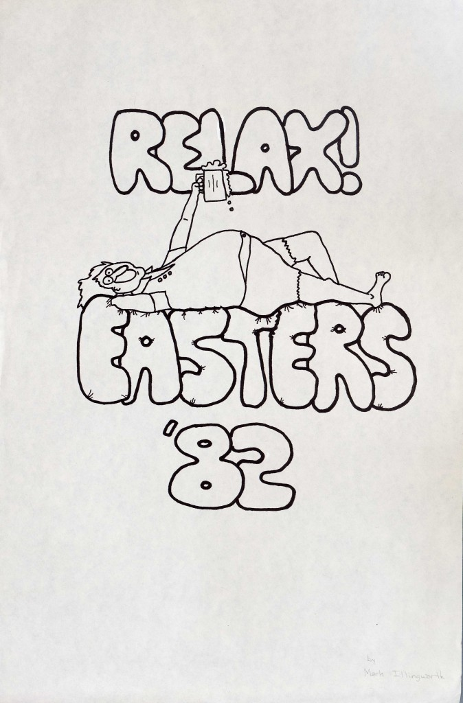 Mark Illingworth. Easters T-shirt Contest Entry, 1982. (RG-23/17/3.881) University of Virginia Archives The logo shown above is one of many entries for the Easters T-shirt Contest in 1982. Easters started as a formal dance in the late 19th century, but slowly transitioned into a massive party at the University of Virginia that reached its prime in the 1970s. During the 1970s, the Easters party took place on the rugby field beside Rugby Road, known as Mad Bowl. Thousands of students would file into the field and drink. All the surrounding fraternities would participate in the party and supply a large amount of the alcohol. Many of the logos for the t-shirt contest contain depictions of alcohol in some fashion. The winning entry, however, did not depict alcohol in the illustration.