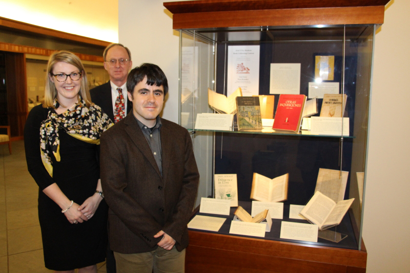 Winners of the 51st U.Va. Student Book Collecting Contest: Nora Benedict (at left) and Isaac May (at front), with contest judge David Whitesell. (Photo courtesy of David Vander Meulen)