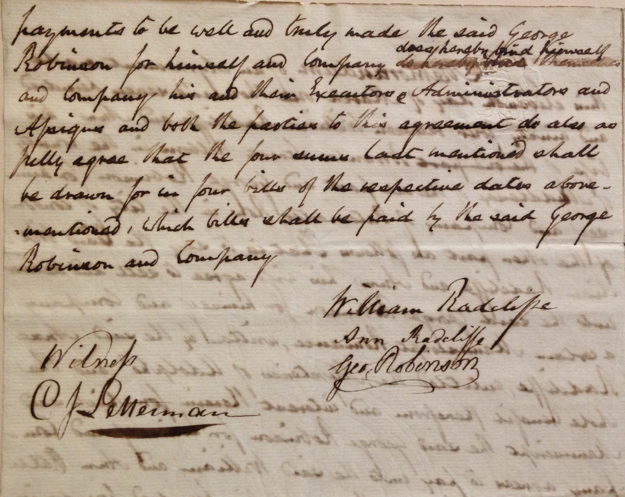 Original manuscript contract, signed by Ann Radcliffe, for her bestselling the Mysteries of Udolpho (London: G.G. and J. Robinson, 1794). Radcliffe's novel commanded the princely sum of 500 British pounds from publisher George Robinson. (MSS 1625)