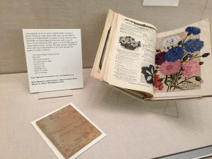 Shown here is a packet of seeds that Spencer wrote notes on and a copy of Dreer's Garden Book with an unpublished poem